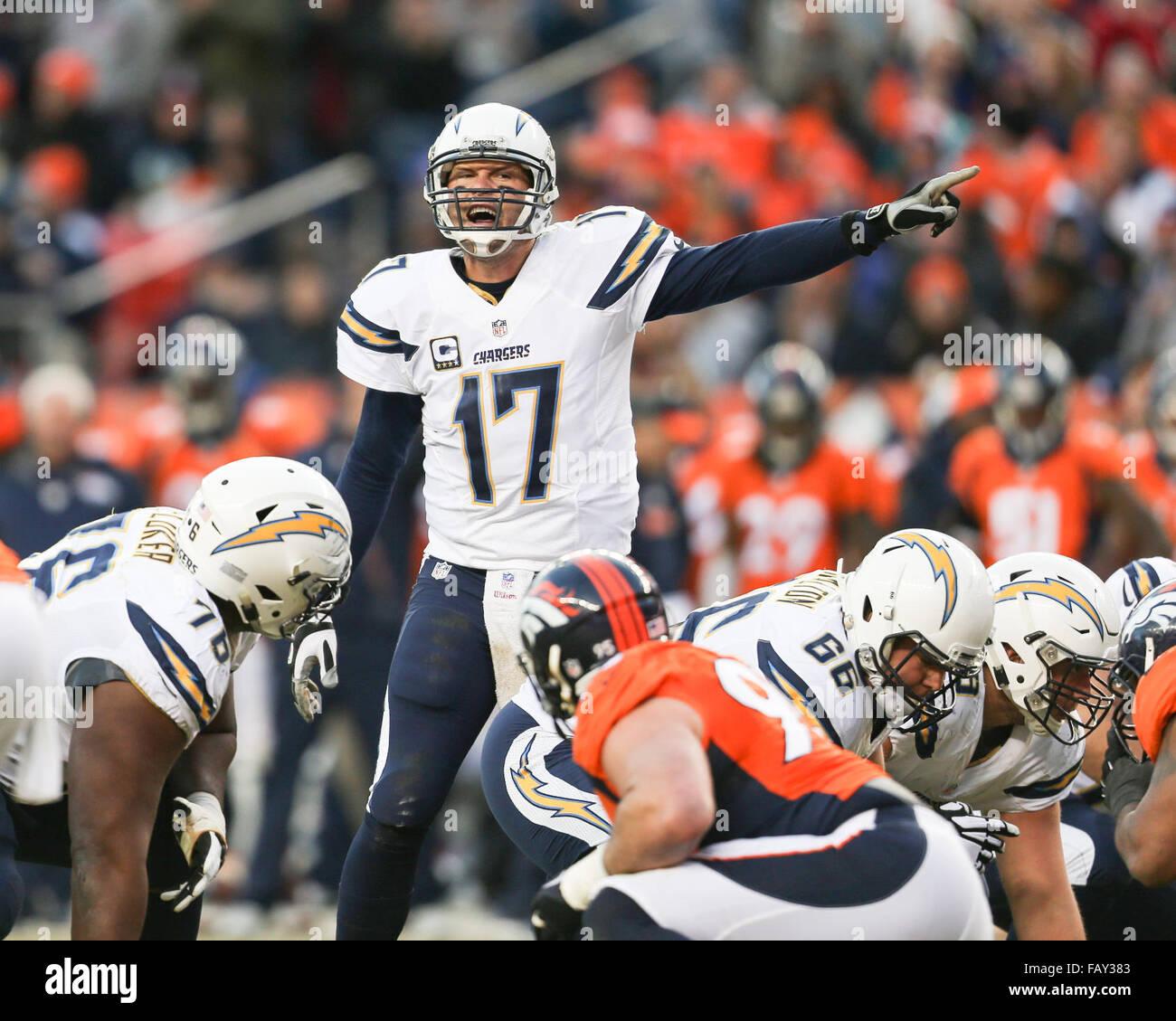 San Diego Chargers Game Live Online Free: January 2016 Denver Broncos Quarterback Stock Photos