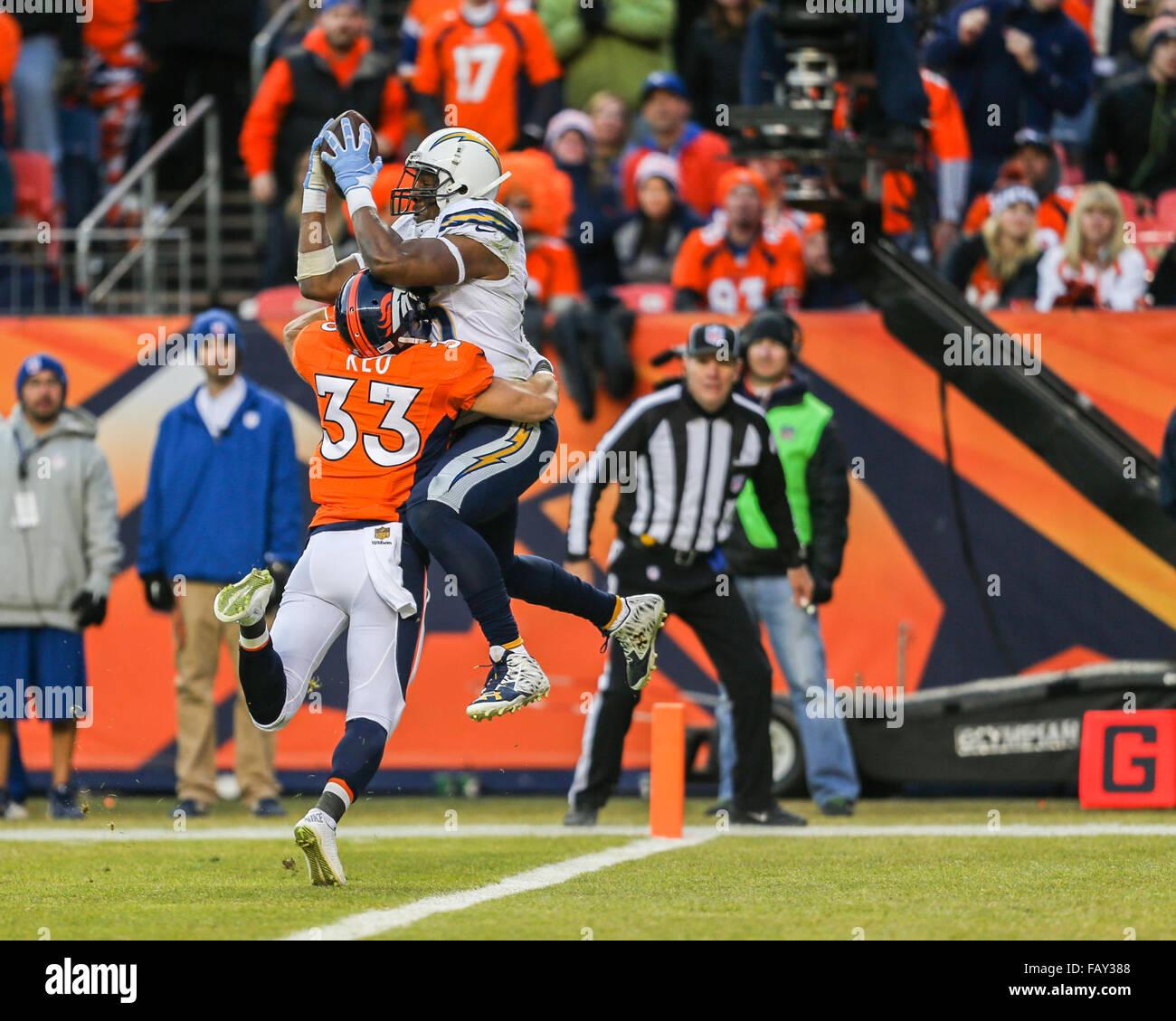 San Diego Chargers Gates: January 2016 Denver Broncos Quarterback Stock Photos