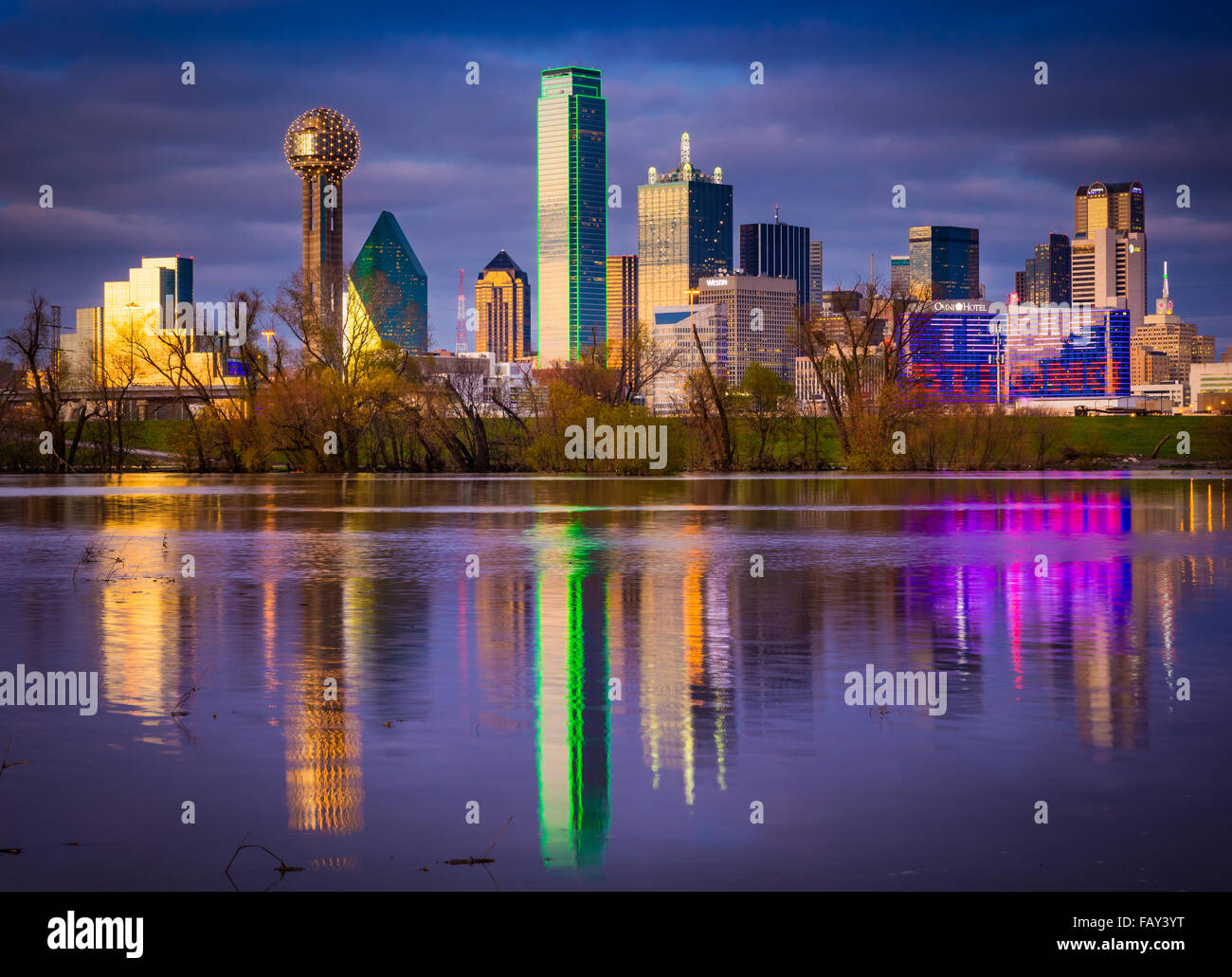 Downtown Dallas, Texas reflecting in the Trinity River Stock Photo