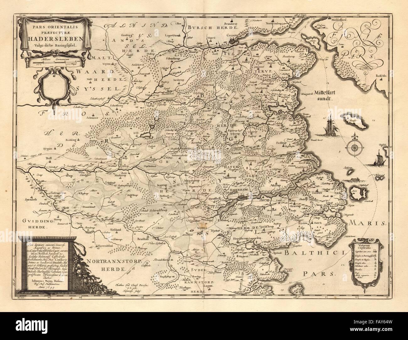 PARS ORIENTALIS PRAEFECTURAE HADERSLEBEN Haderslev Kolding BLAEU - Pars map