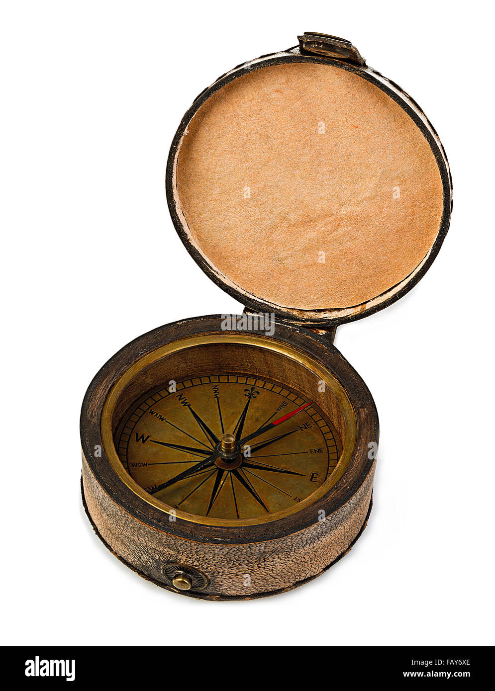 Vintage copper compass in a leather case isolated on a white background. - Stock Image
