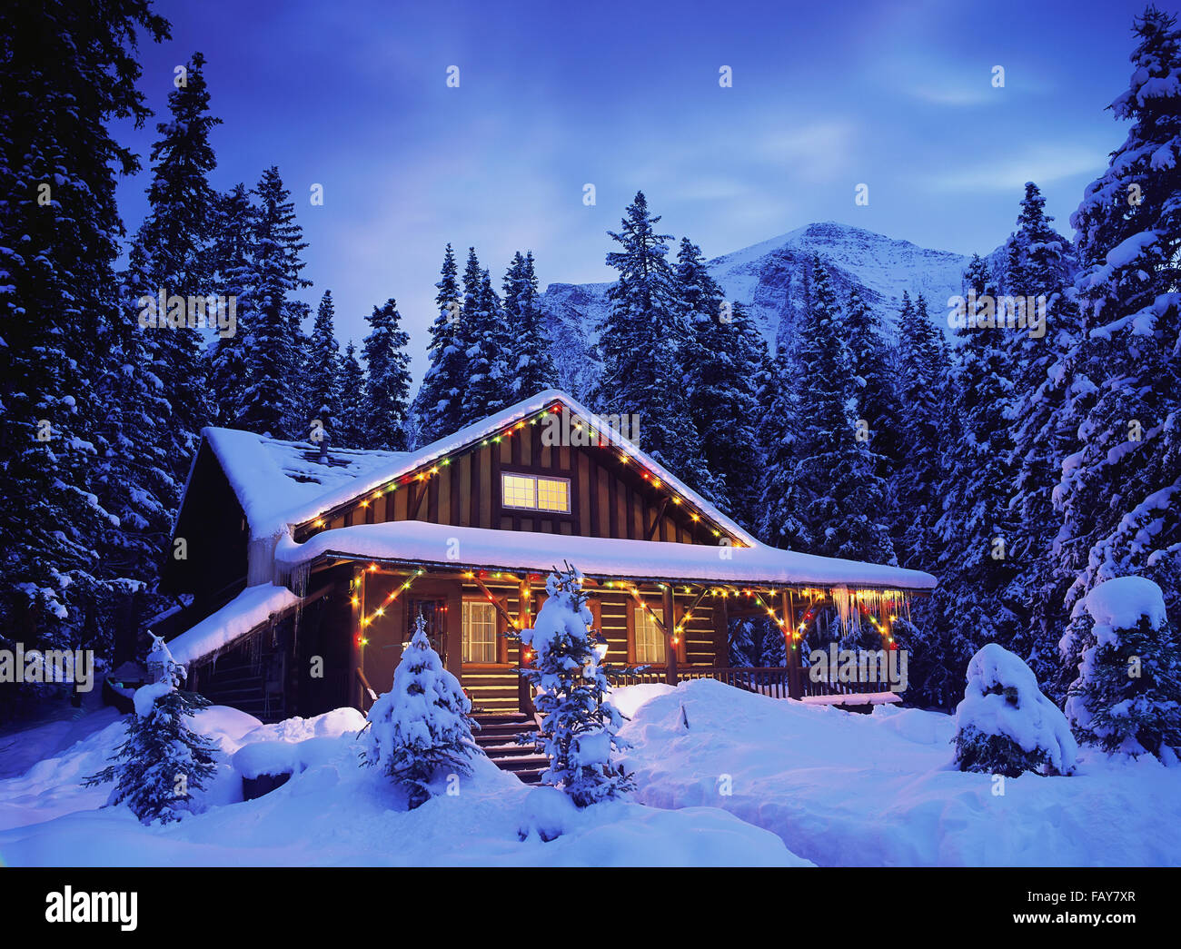 Christmas Vacation House Lights.Cabin In The Woods Illuminated By Christmas Lights Stock