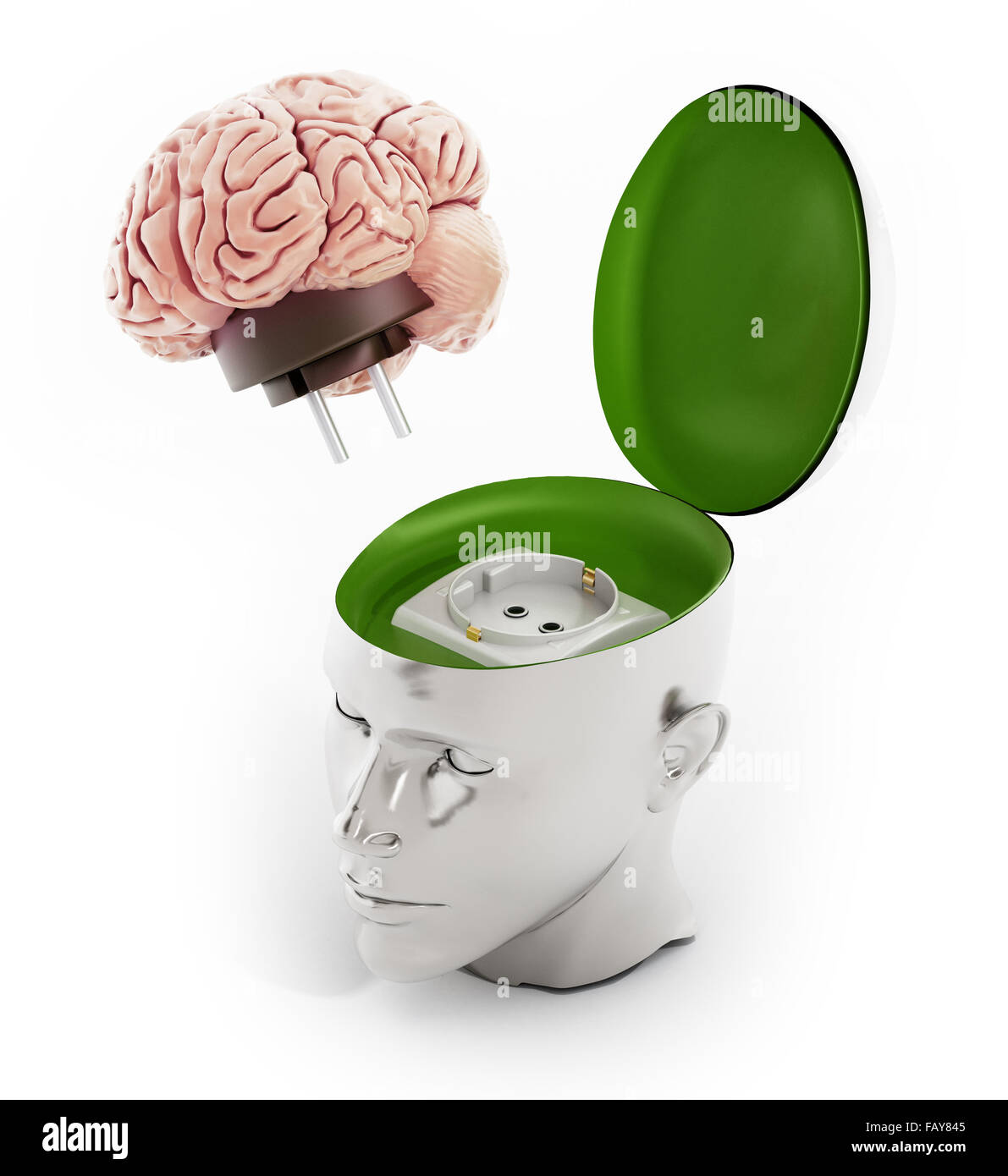 Brain with electricity plug connected to the human head. - Stock Image