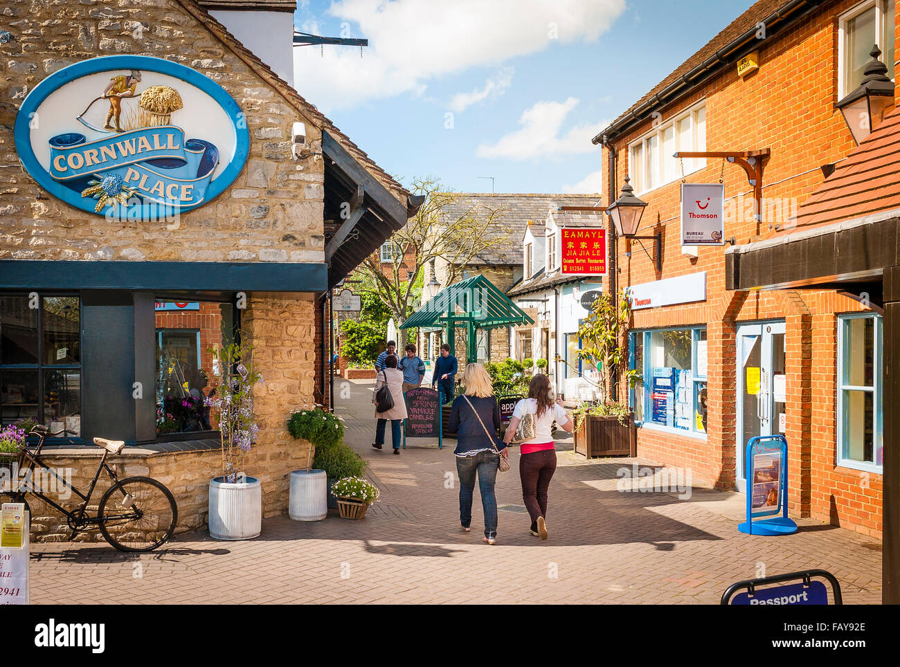Cornwal Place shopping precinct in centre of Buckingham town UK - Stock Image