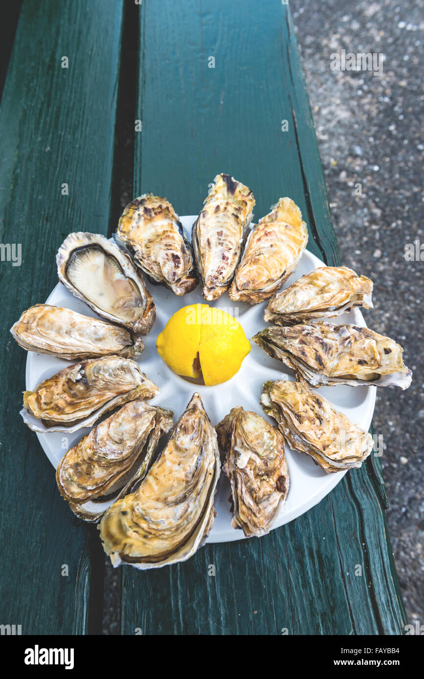 A dozen oysters and a lemon on a plastic plate eating outdoors near the sea Stock Photo