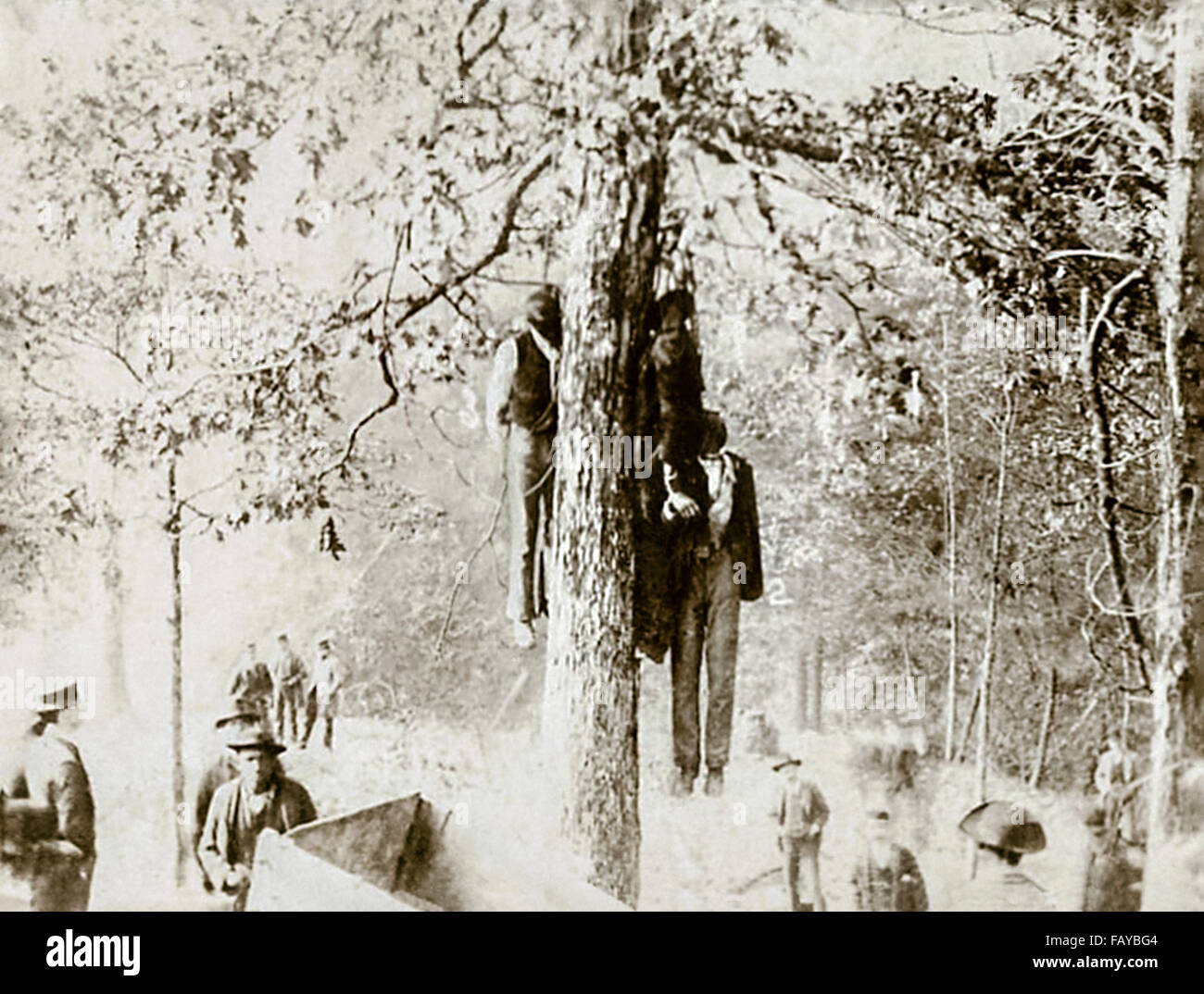Photograph of a lynching in Clifton Forge, Virginia, USA on 17 October 1891. Some black miners on a day off walked - Stock Image