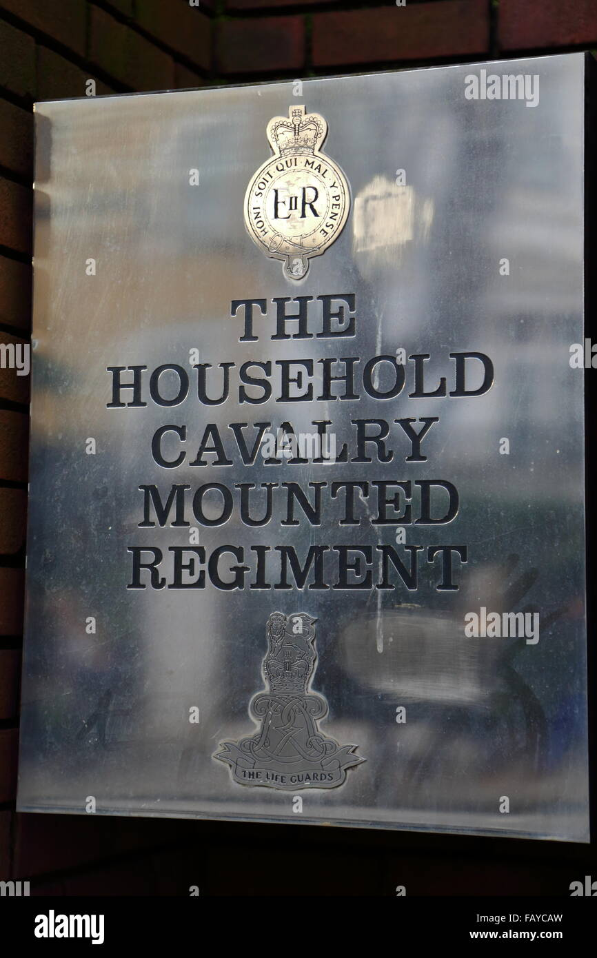 Silver plaque of the Household Cavalry Mounted Regiment at Hyde at Hyde Park Barracks in London, UK Stock Photo