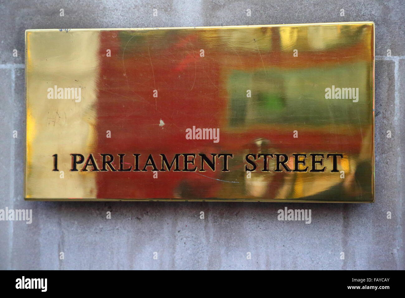 Brass plaque at 1 Parliament Street, Portcullis House, Westminster, London, UK - Stock Image