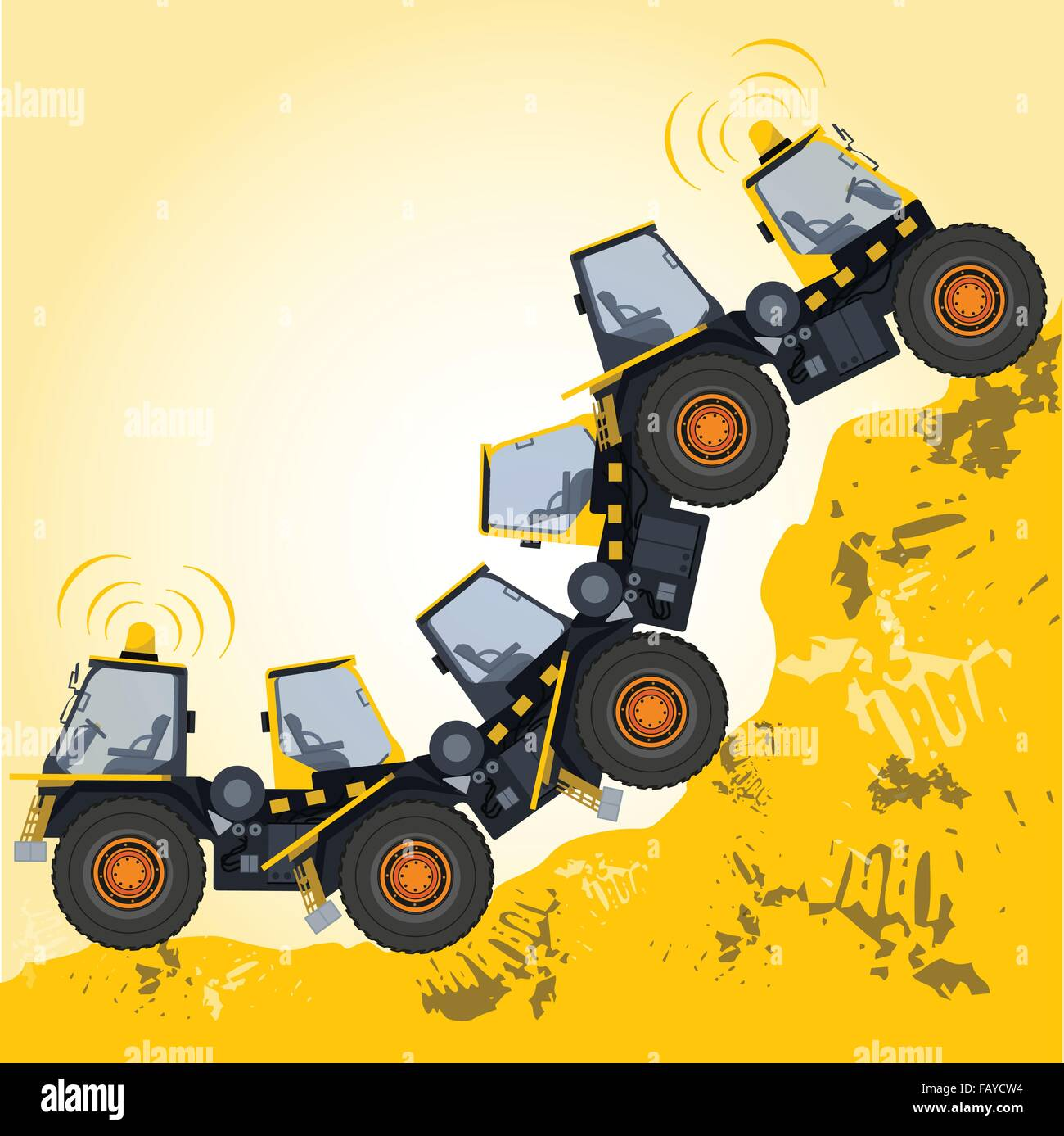 Bizarre machine robot build from ground works yellow vehicles Construction Equipment for building - Truck Digger - Stock Image