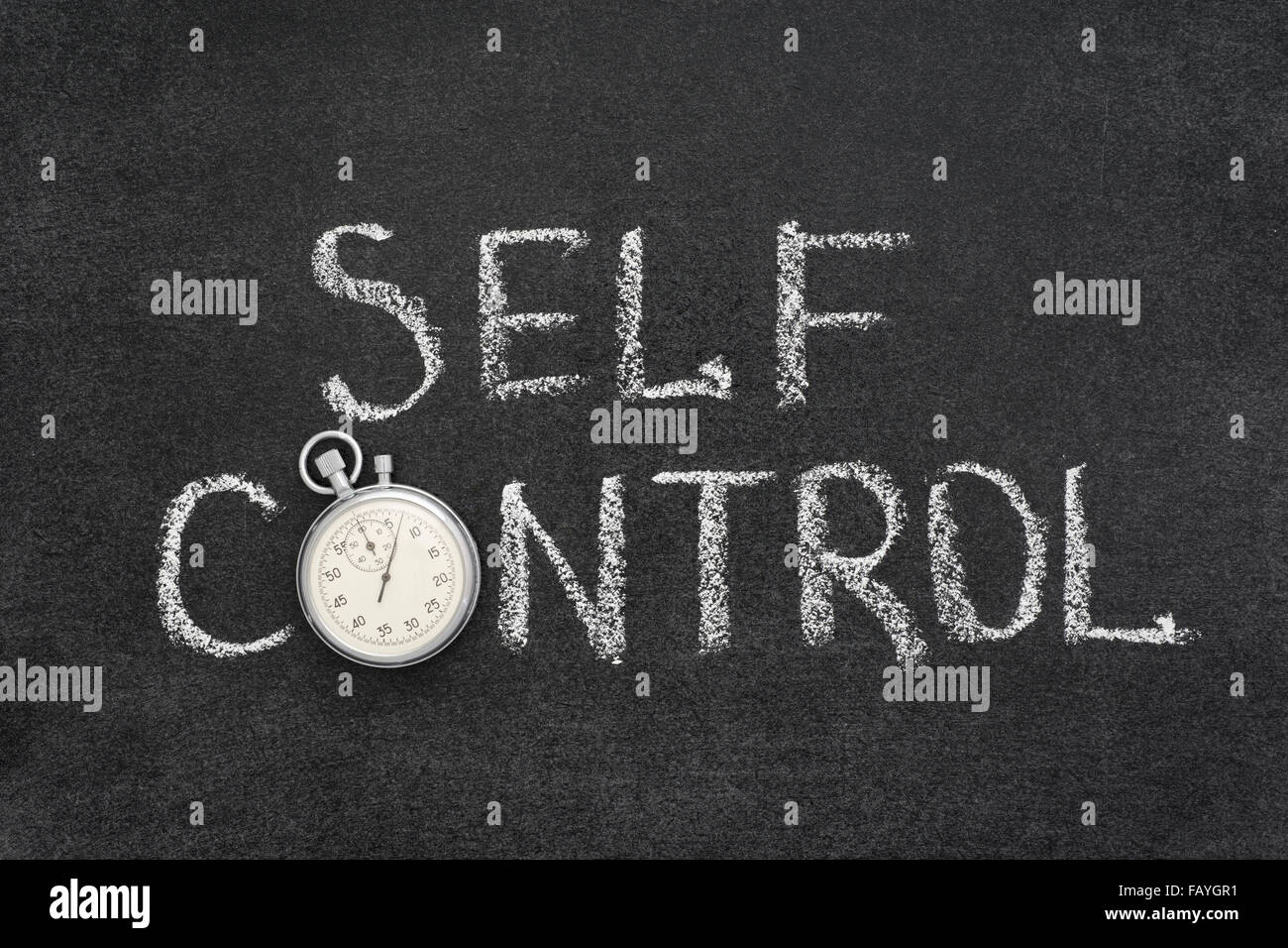 self control phrase handwritten on chalkboard with vintage precise stopwatch used instead of O - Stock Image