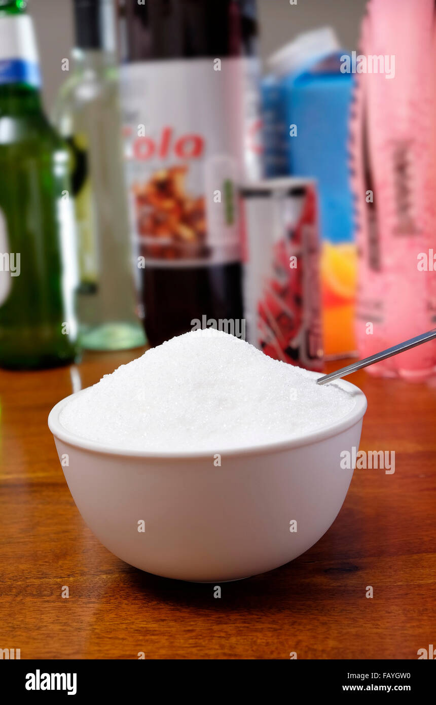white granulated sugar in bowl - Stock Image