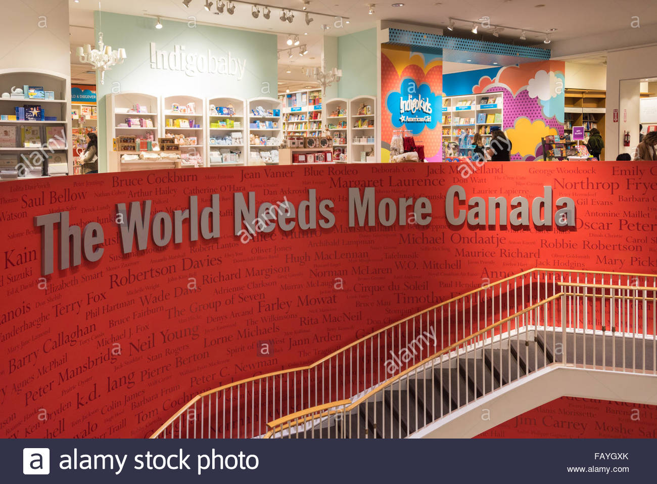 The World Needs More Canada is a catchphrase used at Chapters Bookstores, Canada's largest book retailer. Bring - Stock Image
