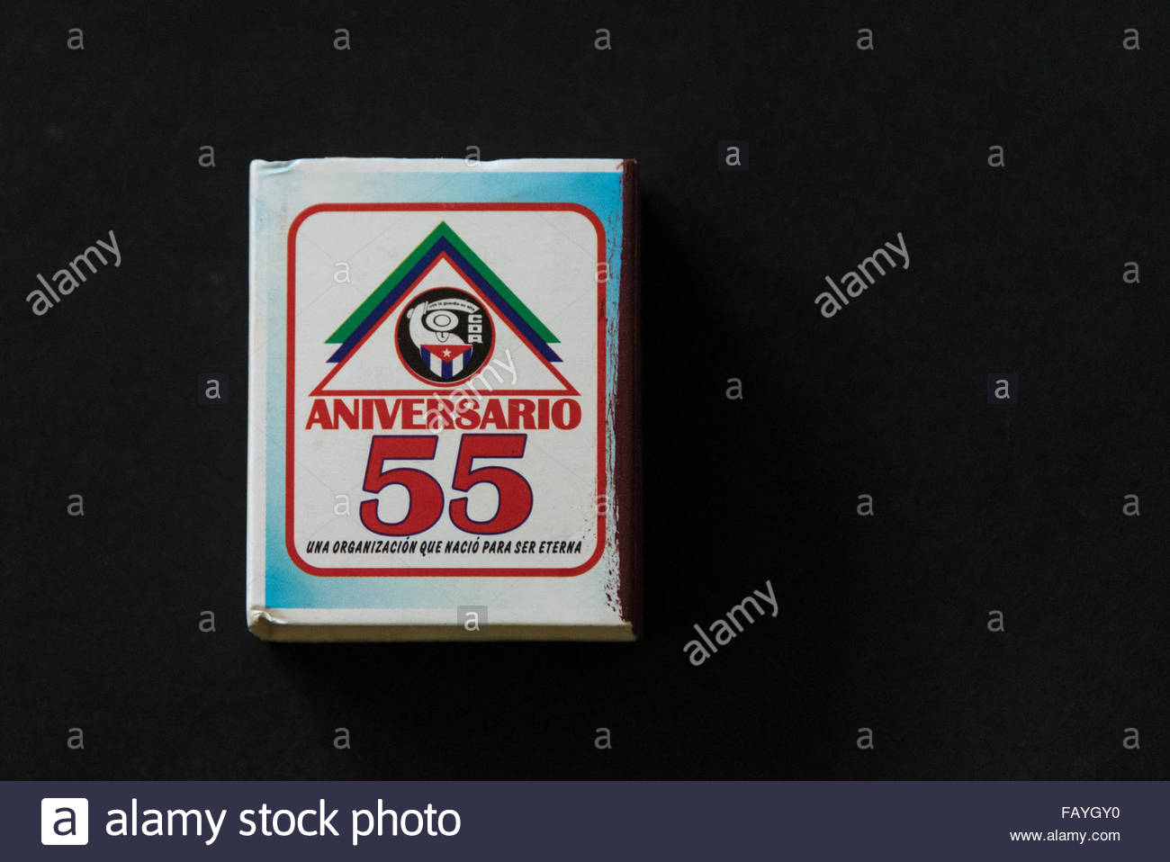 Match box on black background: match box use for government propaganda an organization that was born to be eternal. - Stock Image