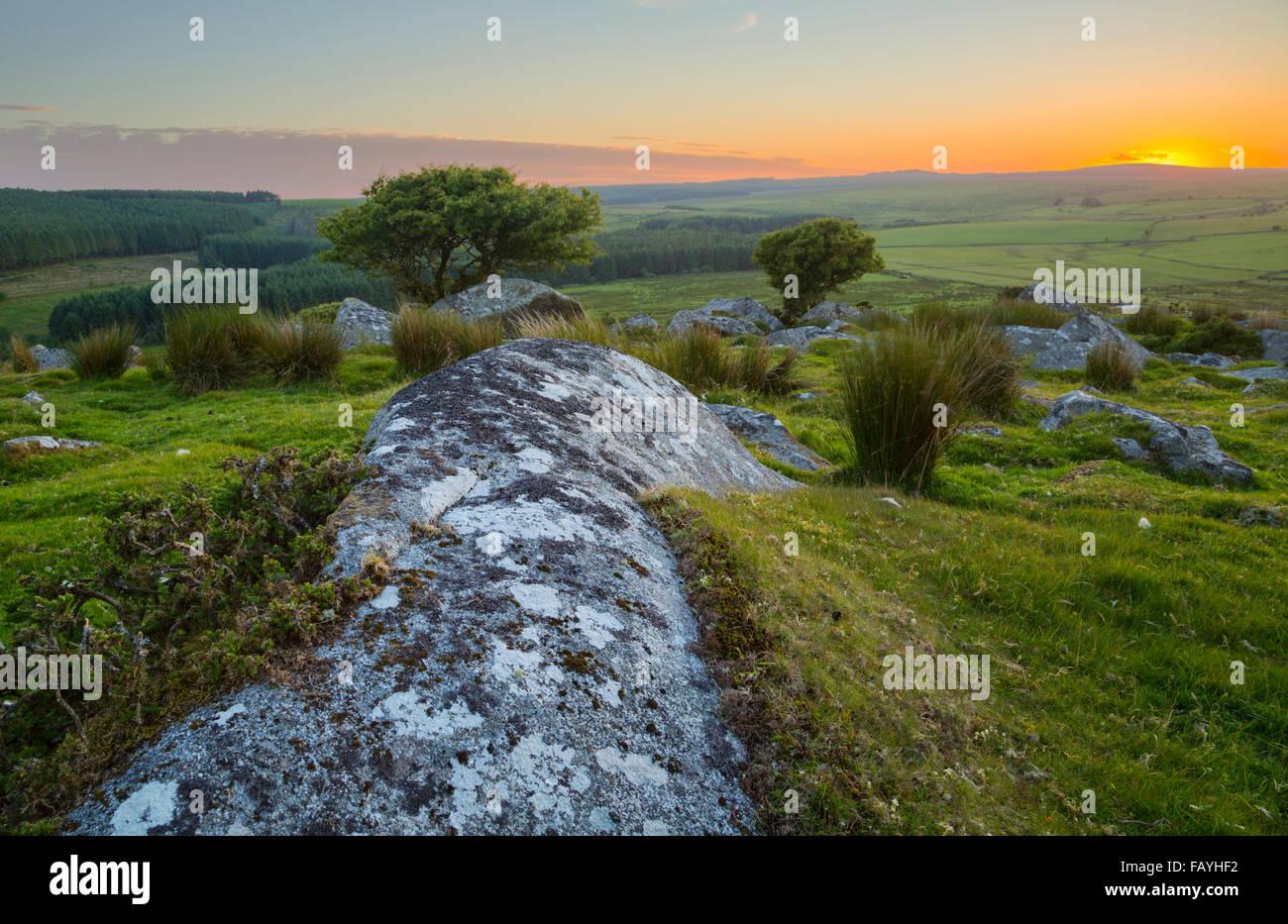 Sunset over Trewortha Tor on Bodmin Moor - Stock Image