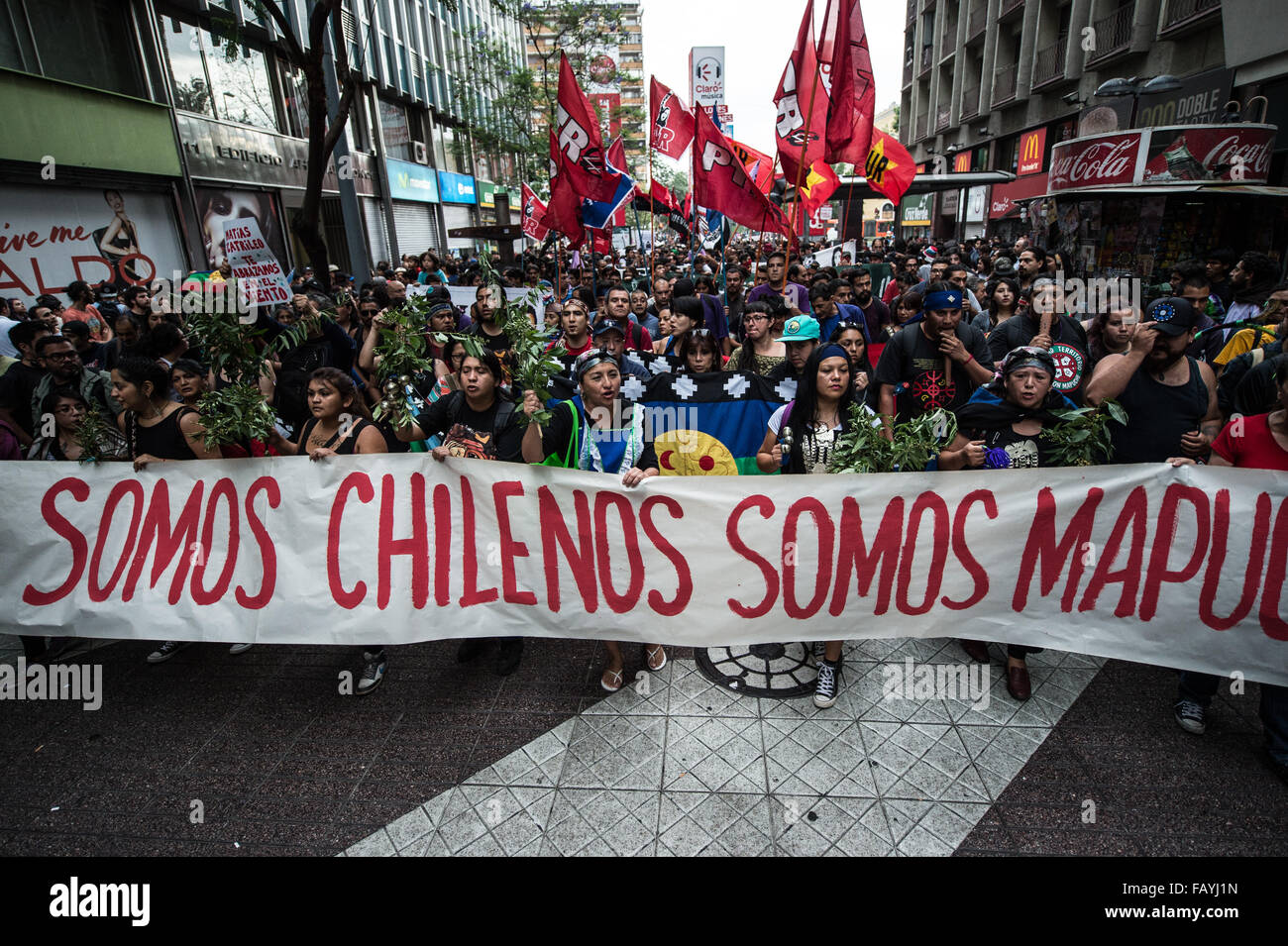 Santiago, Chile. 5th Jan, 2016. Protesters attend a march commemorating the eighth anniversary of the death of Mapuche - Stock Image