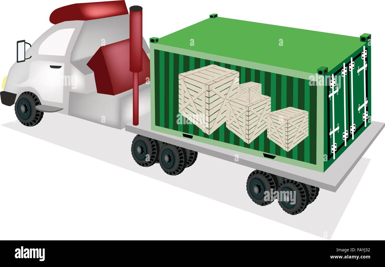 A Freight Container Trucking A Group Of Wooden Crates Or Cargo Boxes Stock Vector Image Art Alamy