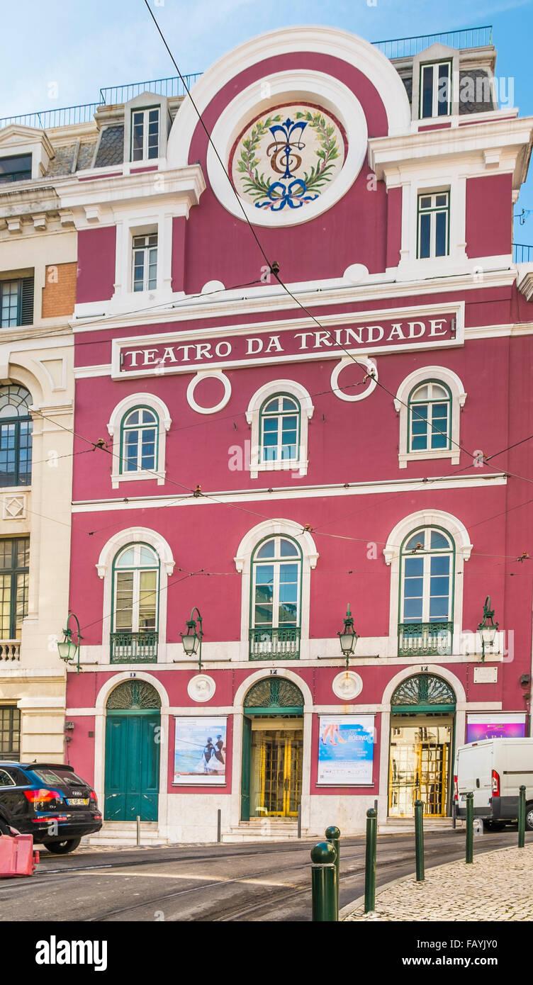 outside view of teatro da trindade, lisbon, portugal - Stock Image
