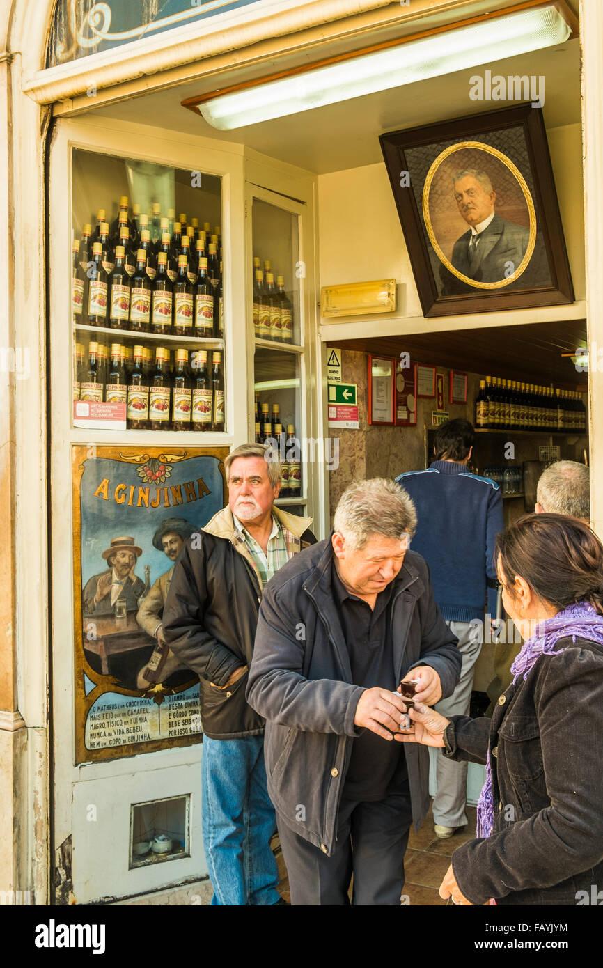 traditional cherry liquor bar a ginjinha, lisbon, portugal Stock Photo