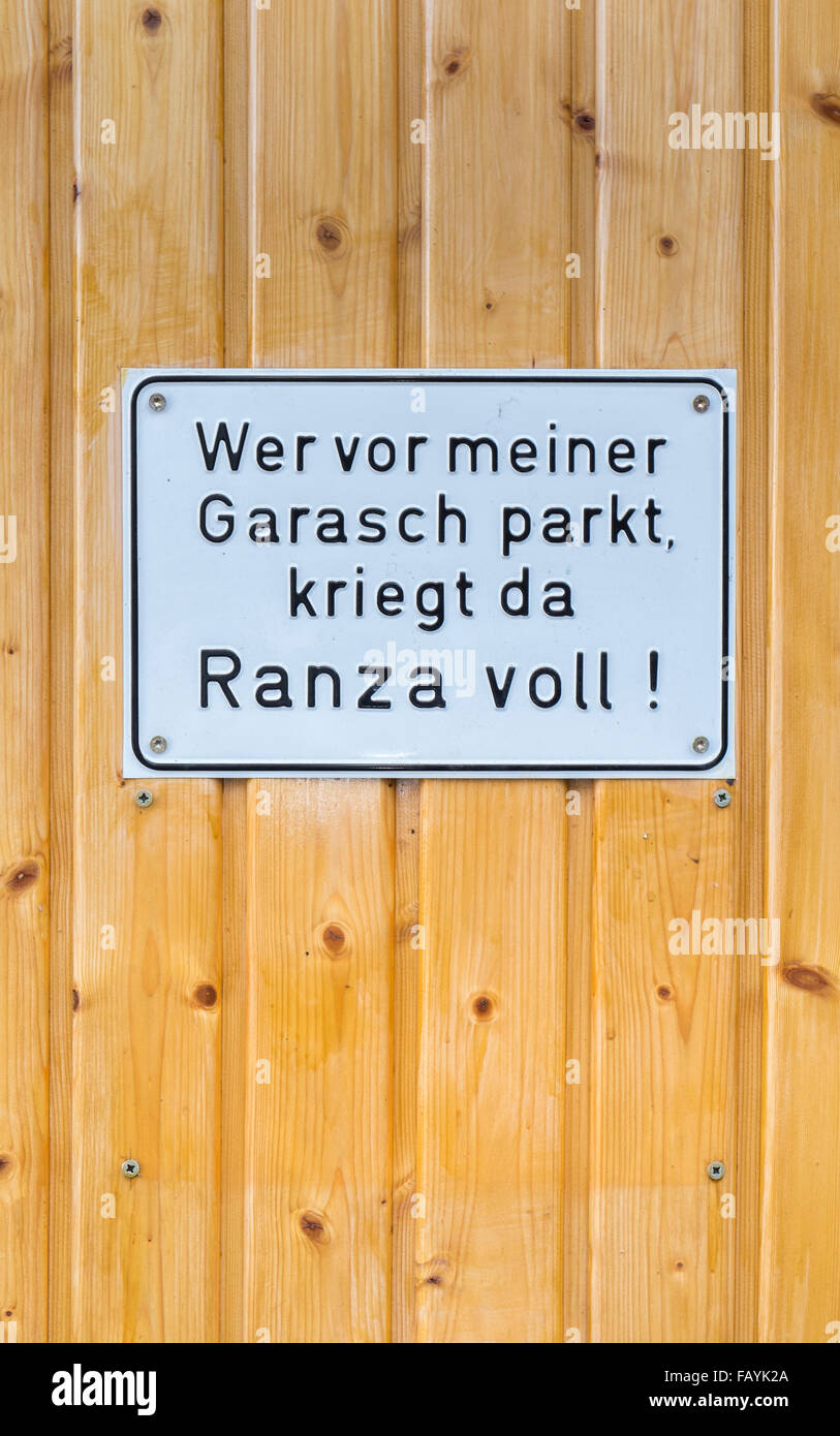 selfmade swabian german no-parking-sign, besigheim, baden-wuerttemberg, germany - Stock Image
