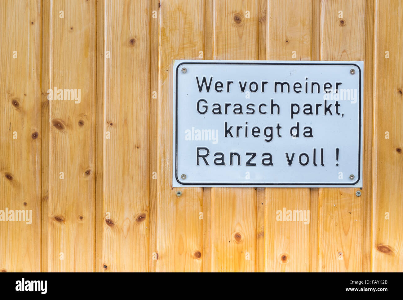 selfmade swabian german no-parking-sign, besigheim, baden-wuerttemberg, germany - Stock Image