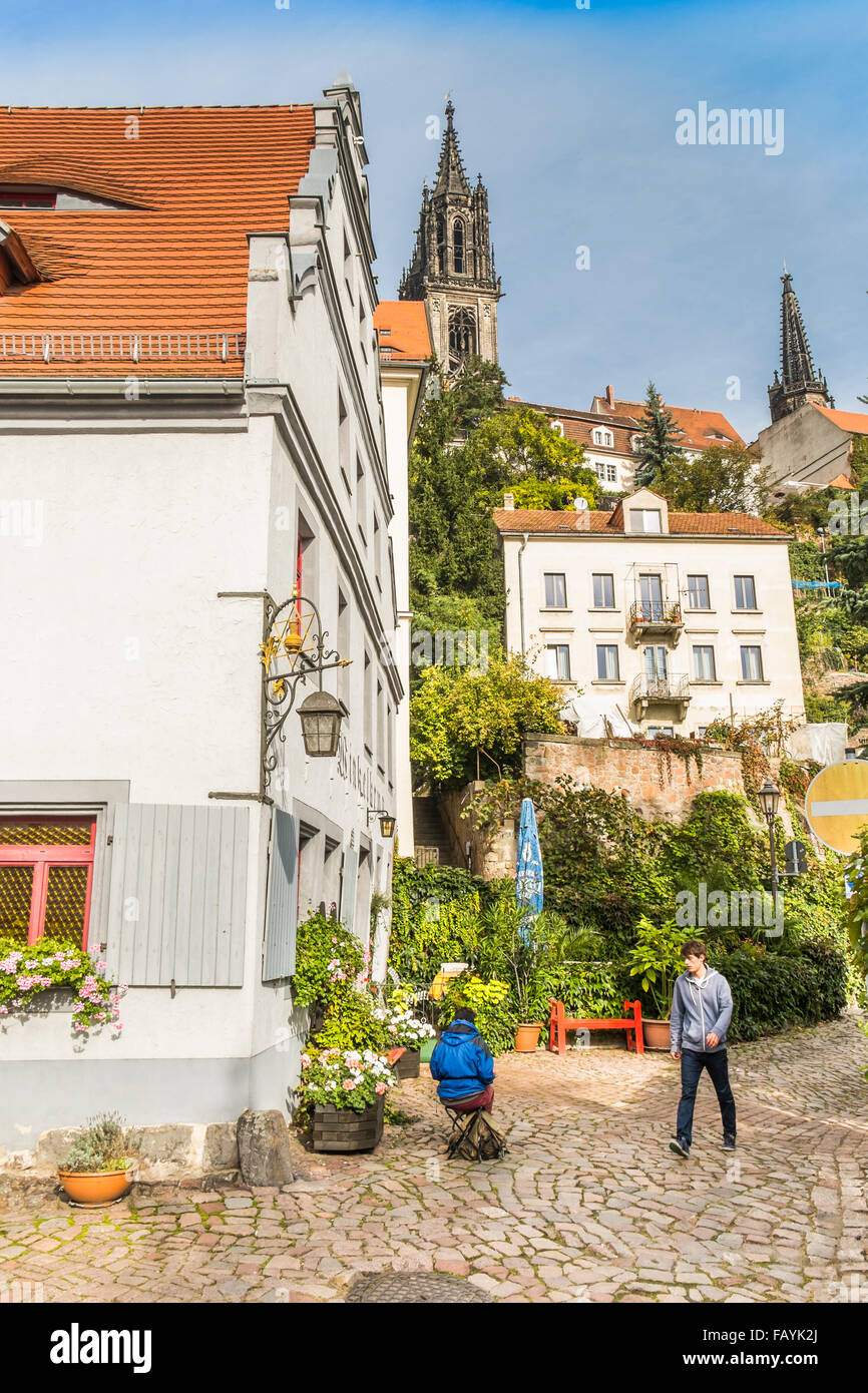 albrechtsburg seen from the historic city center, meissen, germany - Stock Image