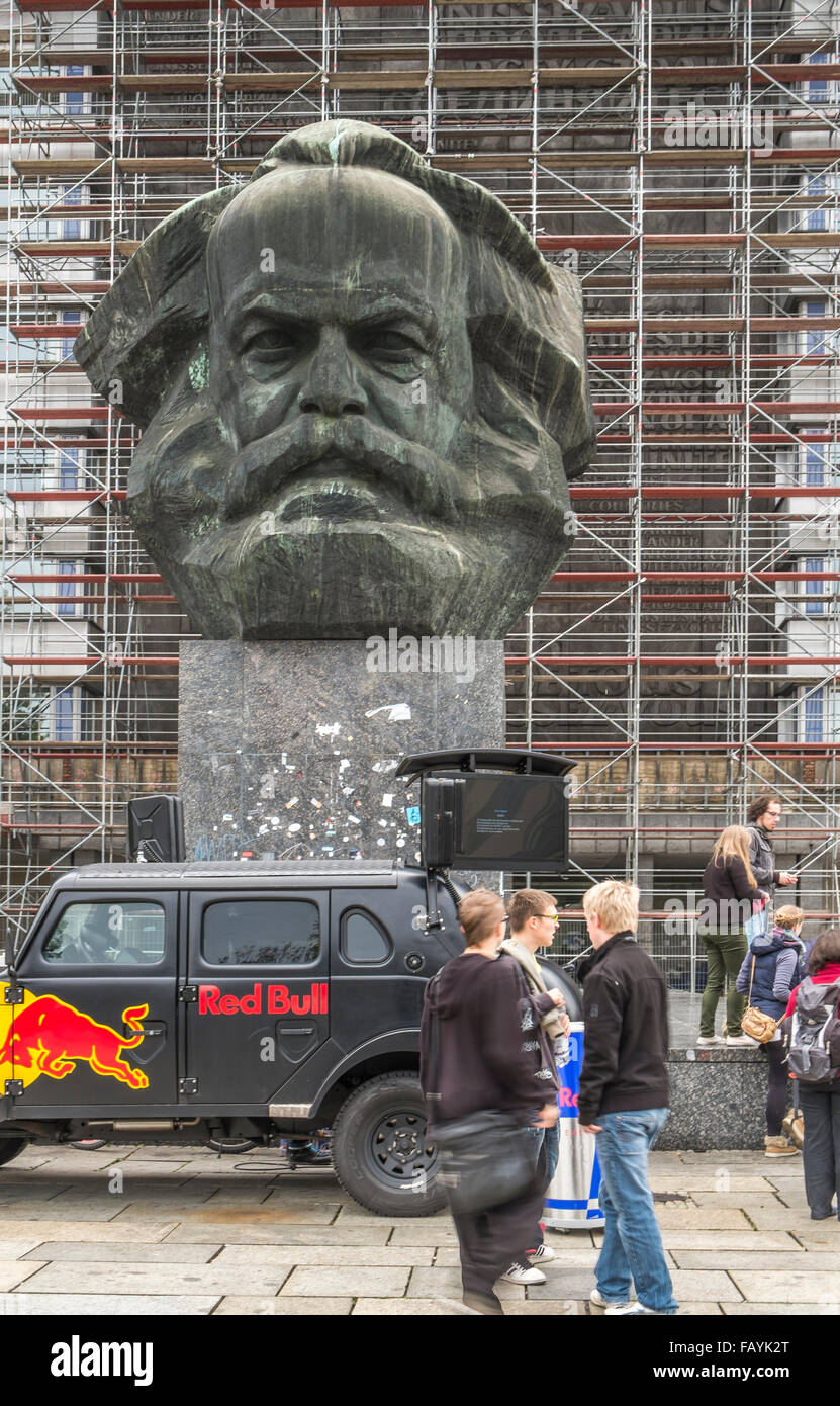 red bull mobile marketing and promotion in front of karl marx monument, chemnitz, germany - Stock Image