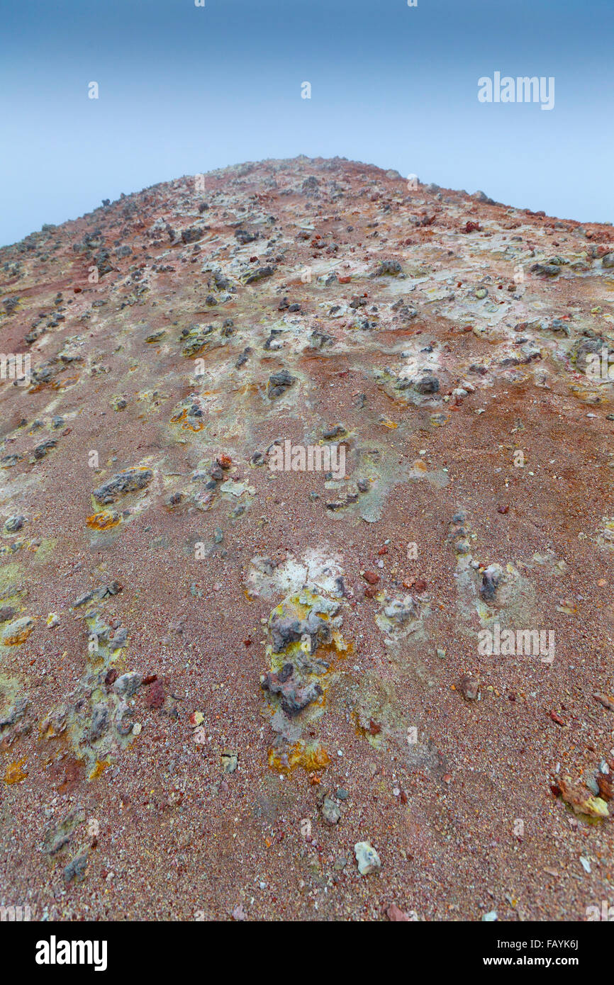 Volcanic ridge with silica and mineral deposits, Fimmvorduhals, Iceland Landscape after eruption from Eyjafjallajokull - Stock Image