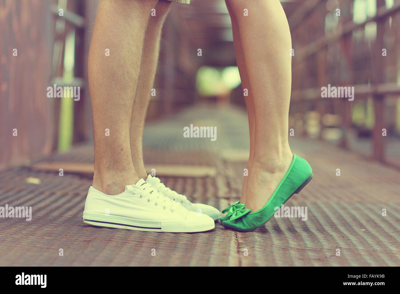man and woman legs with shoes on Stock Photo
