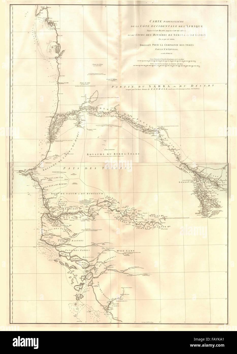 Côte occidentale de l'Afrique. W Africa.Senegal Gambia rivers.D'ANVILLE 1751 map - Stock Image