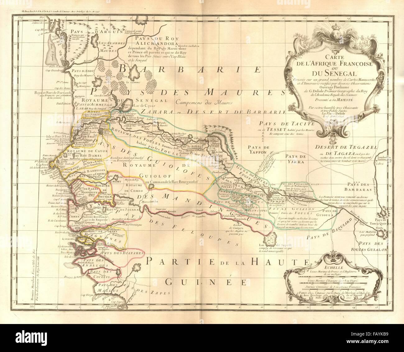 'L'Afrique Françoise ou du Senegal'. French West Africa. DE L'ISLE, 1727 map - Stock Image