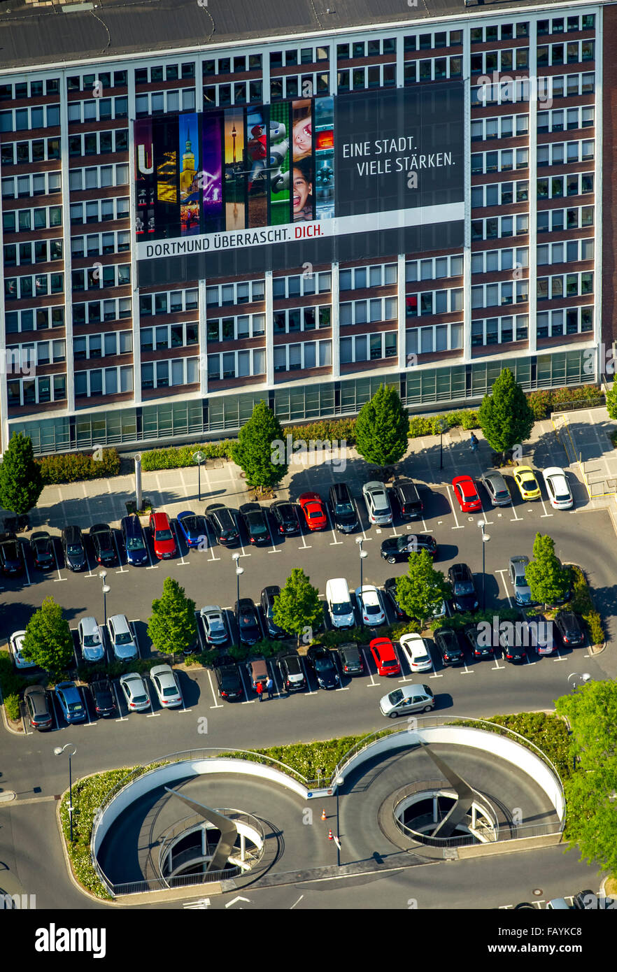 Aerial view, poster 'One city - many strengths' Dortmund surprises you, City Council Office for Housing - Stock Image