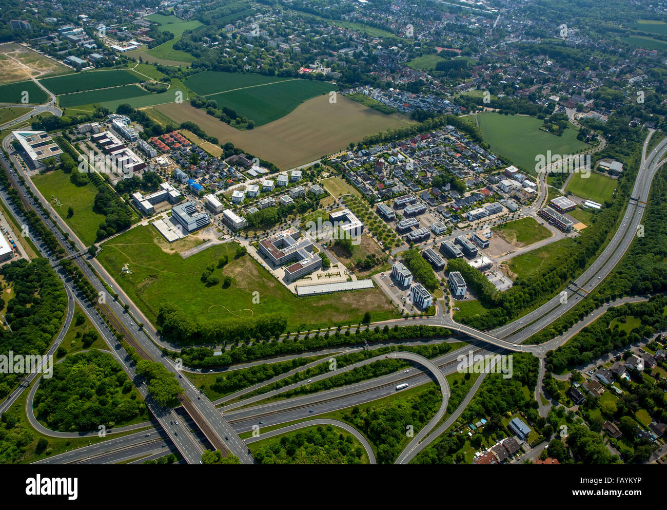 Aerial view, Stadtkrone Ost, B236 and A40 motorway, industrial estate and residential, mixed use, Dortmund, Ruhr - Stock Image