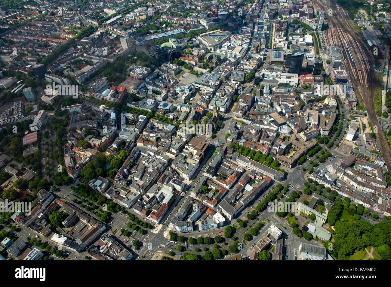 Aerial view, Dortmund City inner city ringroad within the ramparts, Dortmund, Ruhr area, North Rhine-Westphalia, - Stock Image