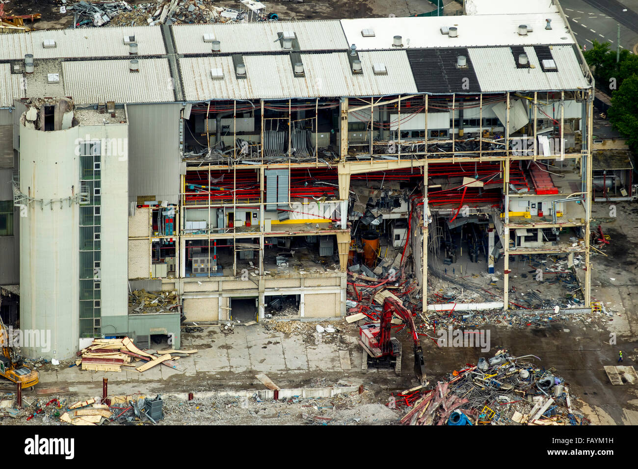 Aerial view, demolition work at the Opel plant 1, automotive, structural change, auto industry, Bochum, Ruhr area, - Stock Image