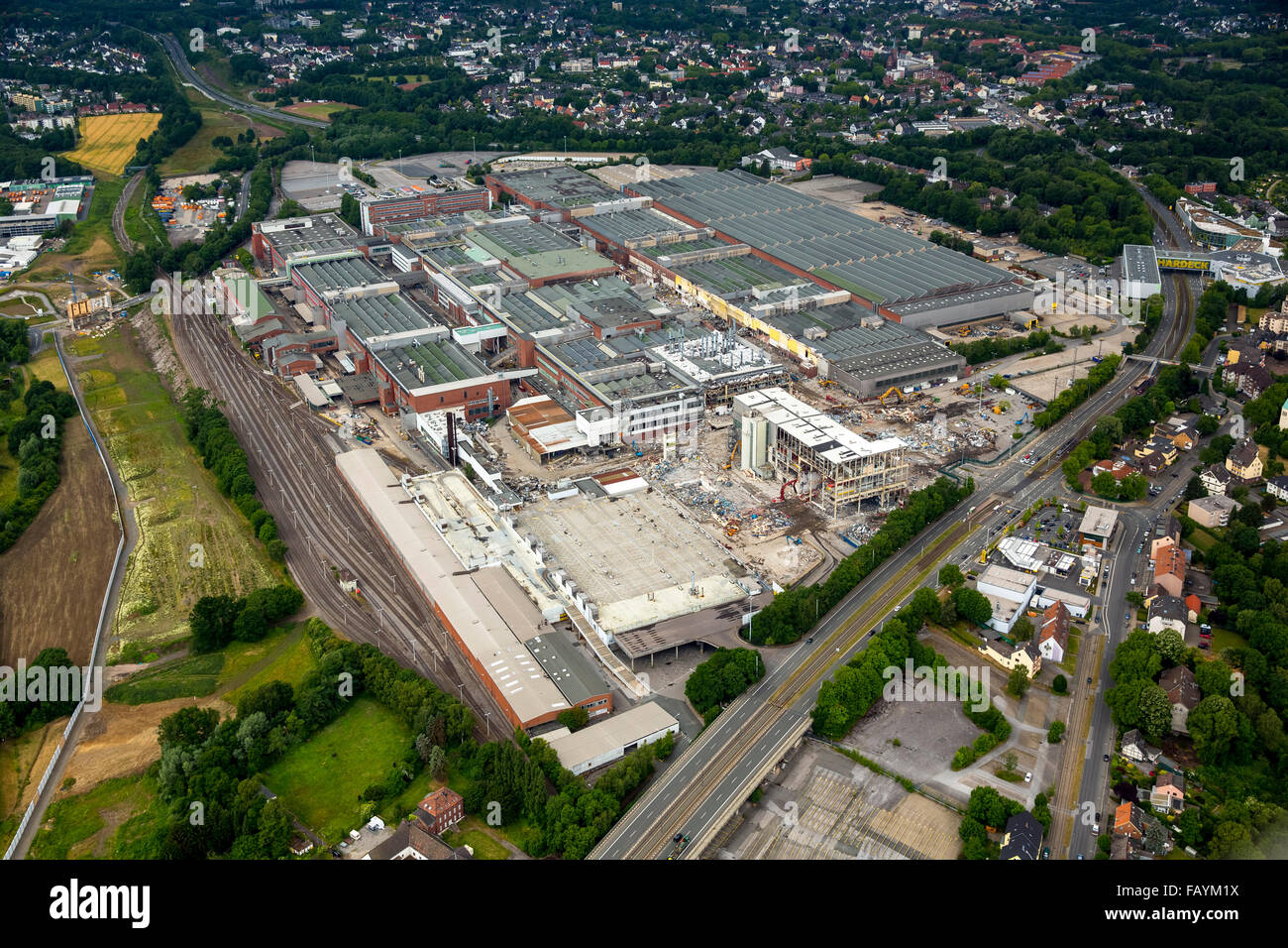 Aerial view, demolition work at Opel plant 1, automotive, structural changes, auto industry, Bochum, Ruhr area, - Stock Image