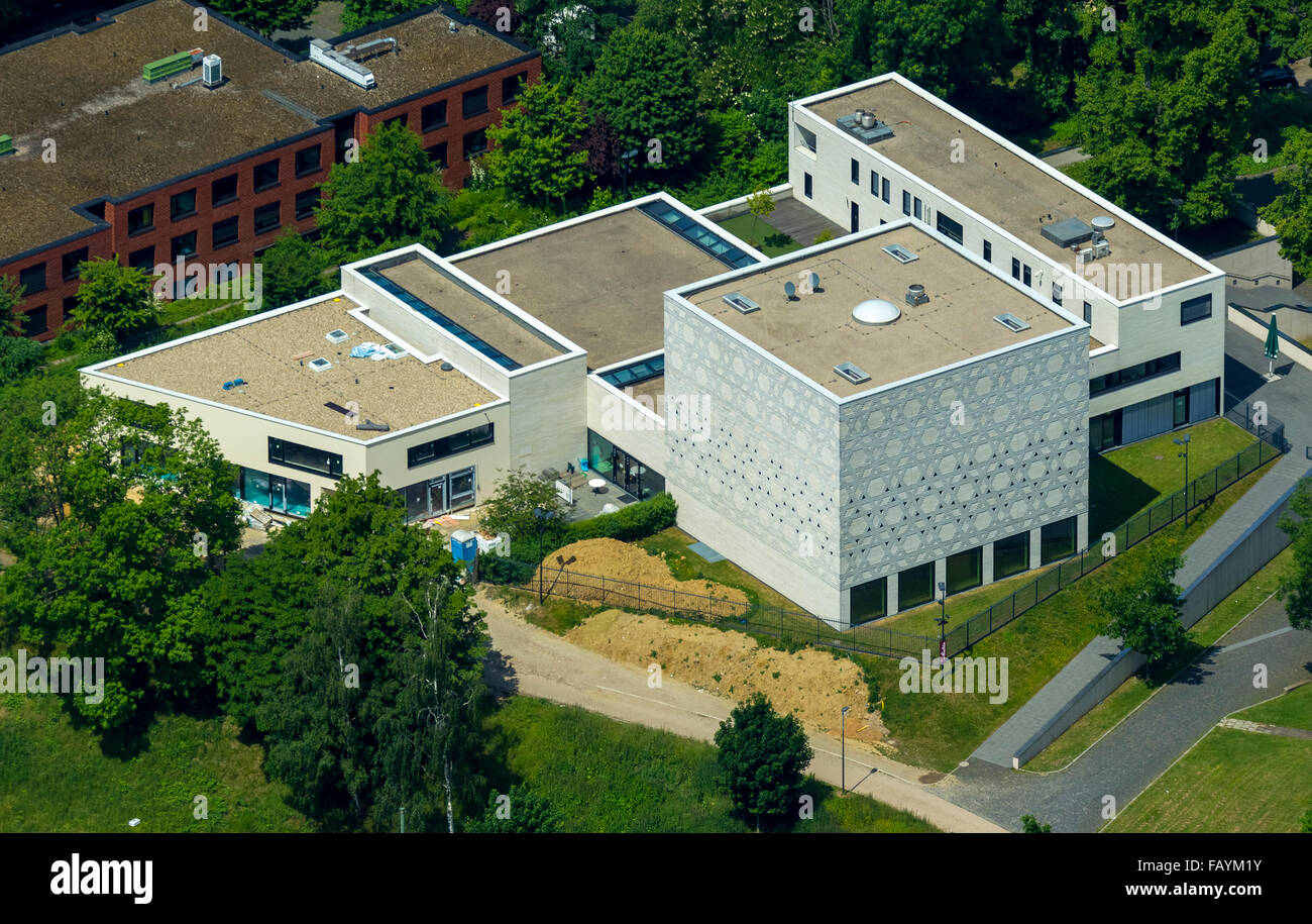 Aerial view, synagogue Bochum, Religion, Judaism, God's house, modern architecture, Bochum, Ruhr area, North - Stock Image