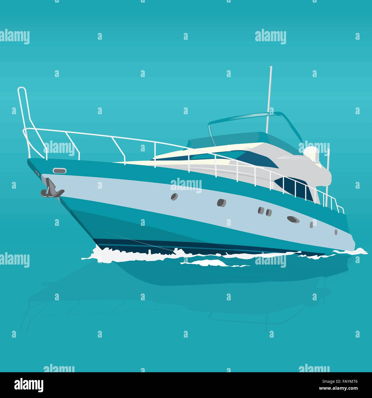 Nice blue motor boat on sea – fishing on a ship – background for poster - flatten isolated illustration master vector - Stock Image