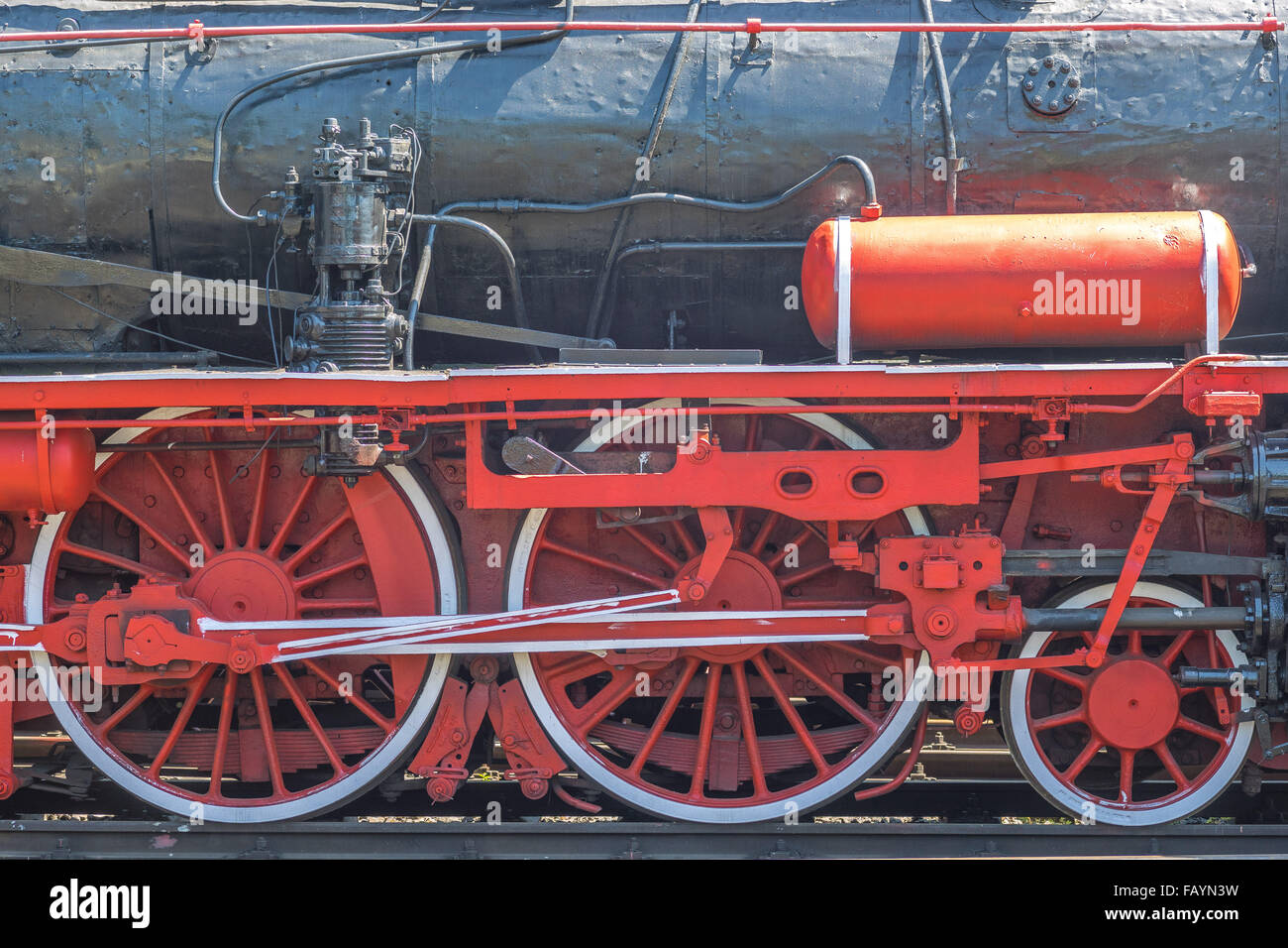 Wheels and propulsion mechanism of the locomotive - Stock Image