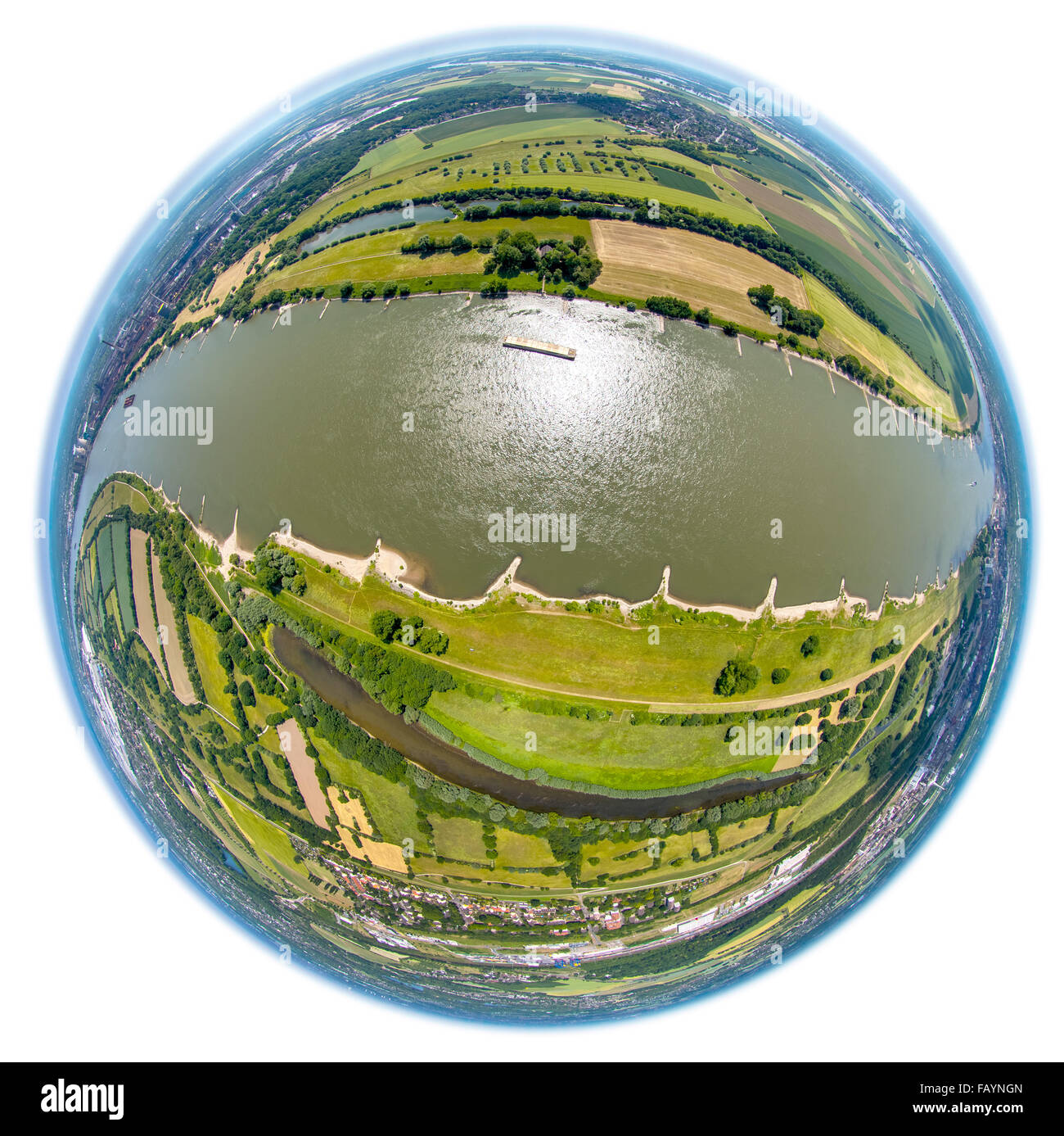 Aerial view, railway development and the Rhine, Living on the Rhine, Duisburg, Rheinblick, Ruhr area, North Rhine - Stock Image