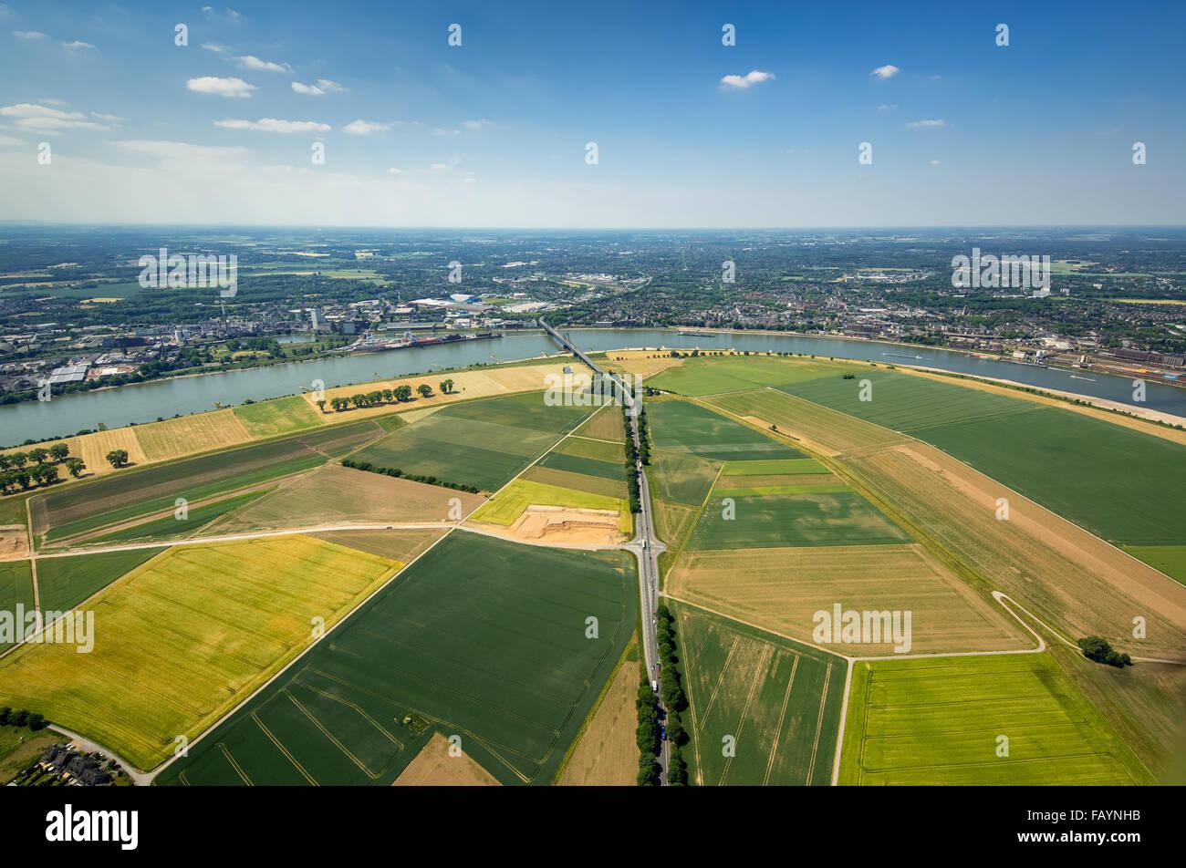 Aerial view, construction, flood protection, Rheindeich between Serm Mündelheim and Dusseldorf-Wittlaer, Duisburg, Stock Photo