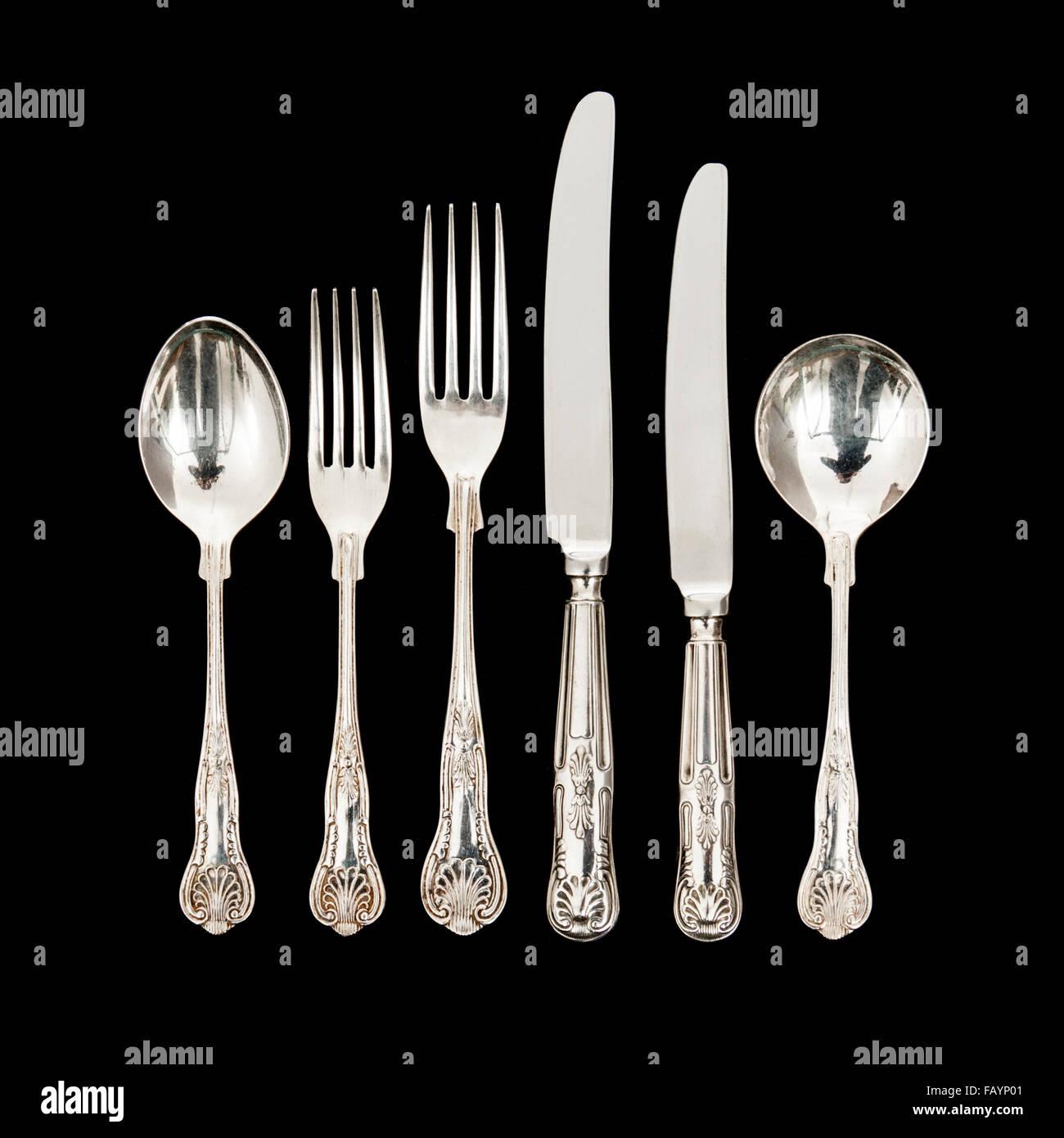 Vintage Sarosh (Japanese) Silver Plated cutlery - Stock Image