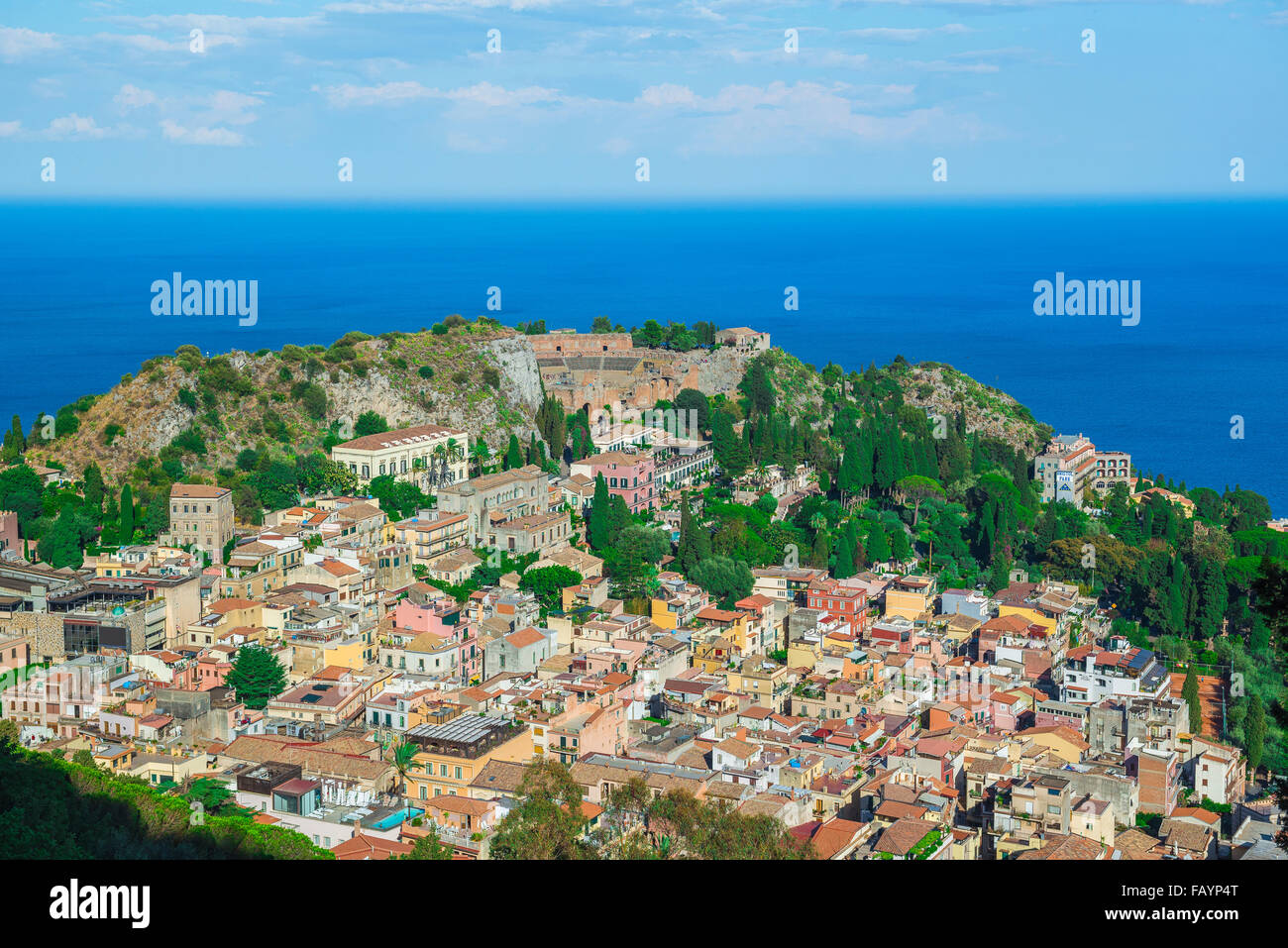 Taormina landscape Sicily, aerial cityscape view of Taormina, showing the auditorium of the ancient Greek theater - Stock Image