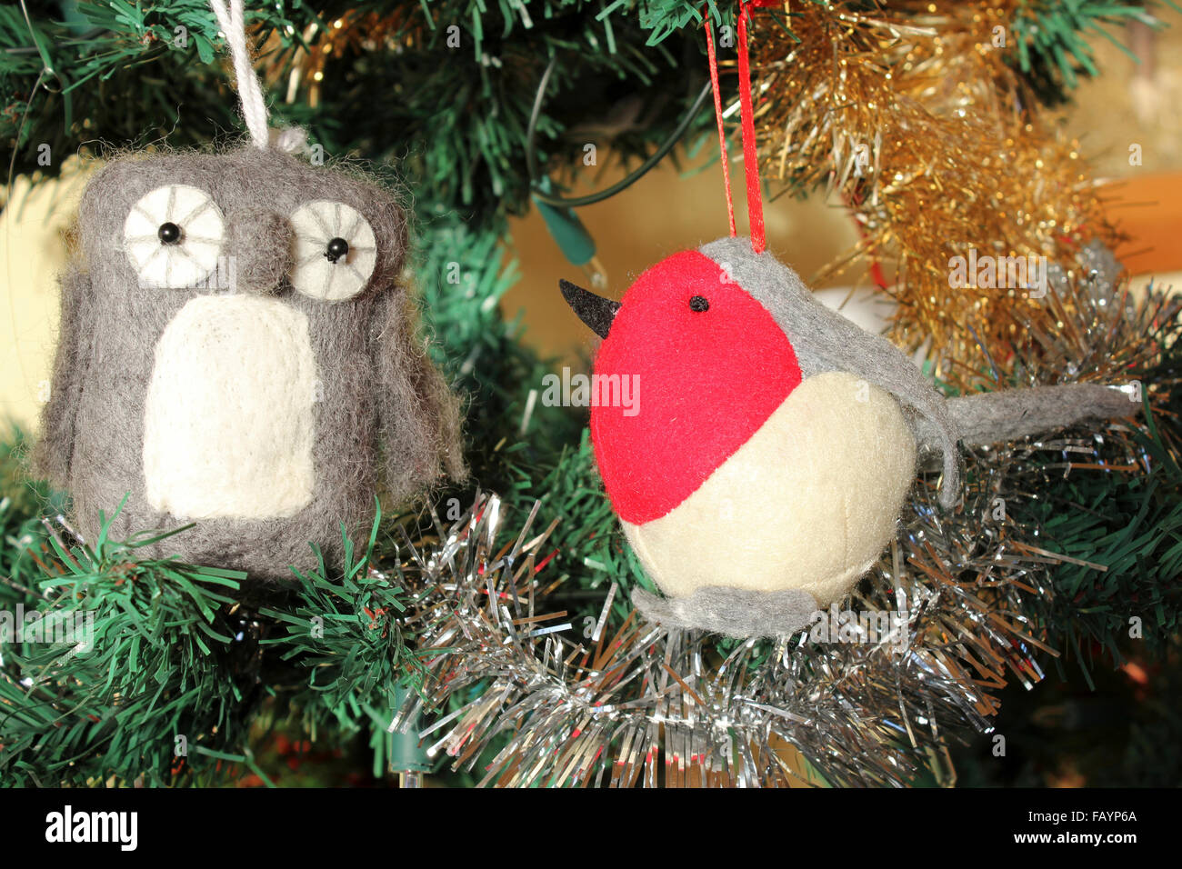 Owl And Robin Christmas Decorations - Stock Image