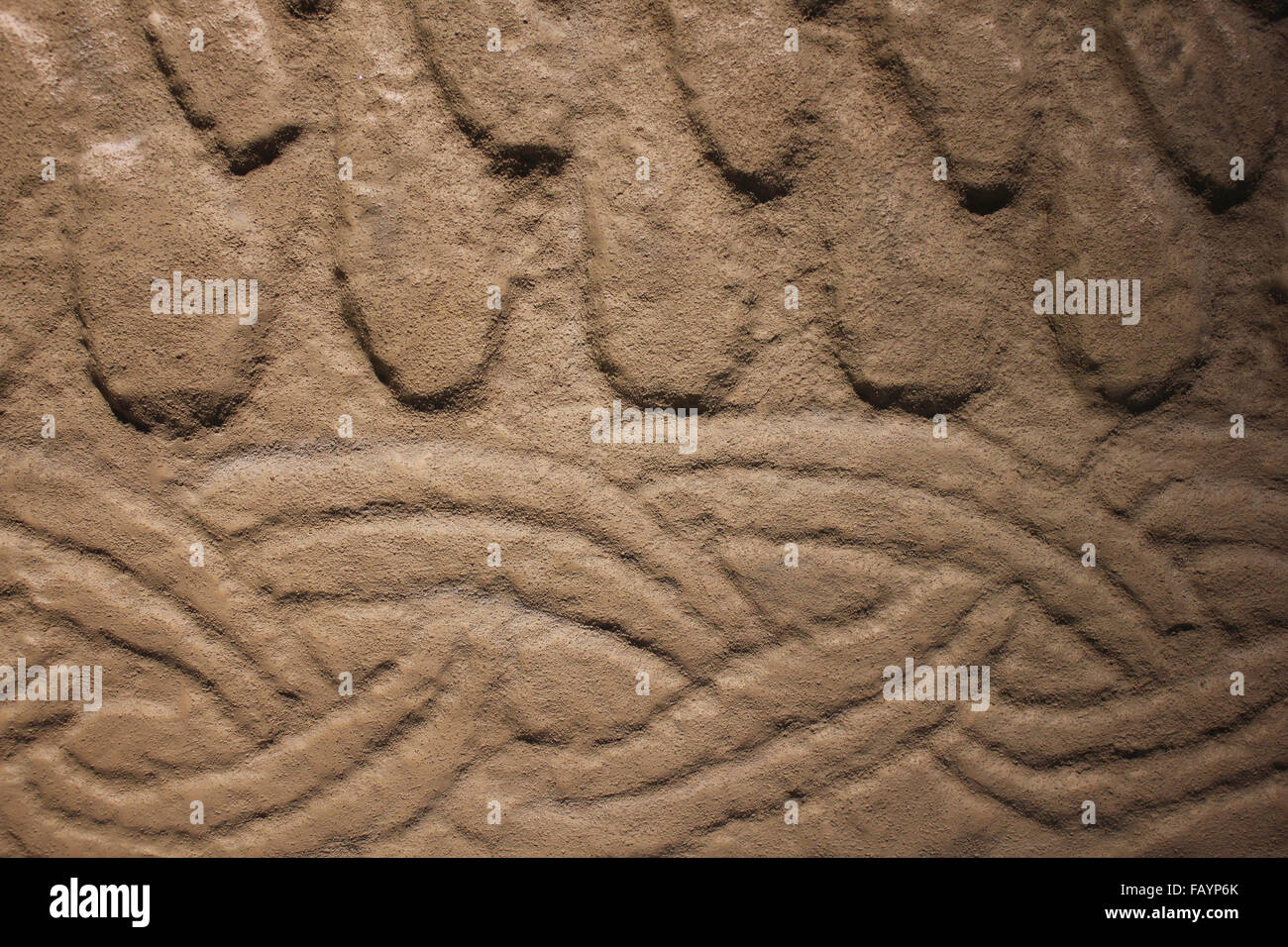 Interwoven Design Detail On A Replica Viking 'Hogback' Tombstone Dating to 10th or 11th Century, West Kirkby, - Stock Image