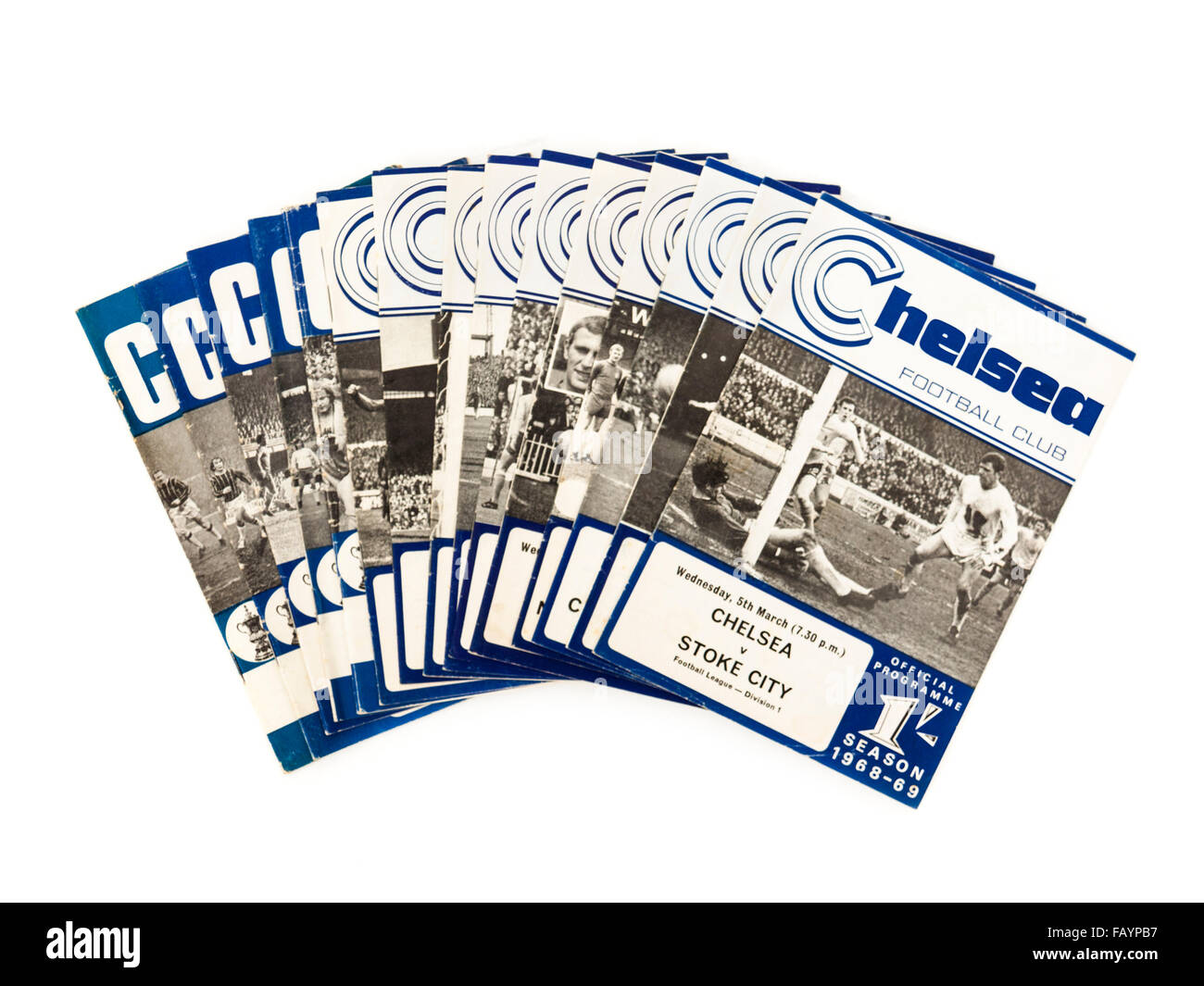 Collection of vintage 1960's Chelsea Football Club programmes (1968-1969 season) with the Chelsea v Stoke City - Stock Image