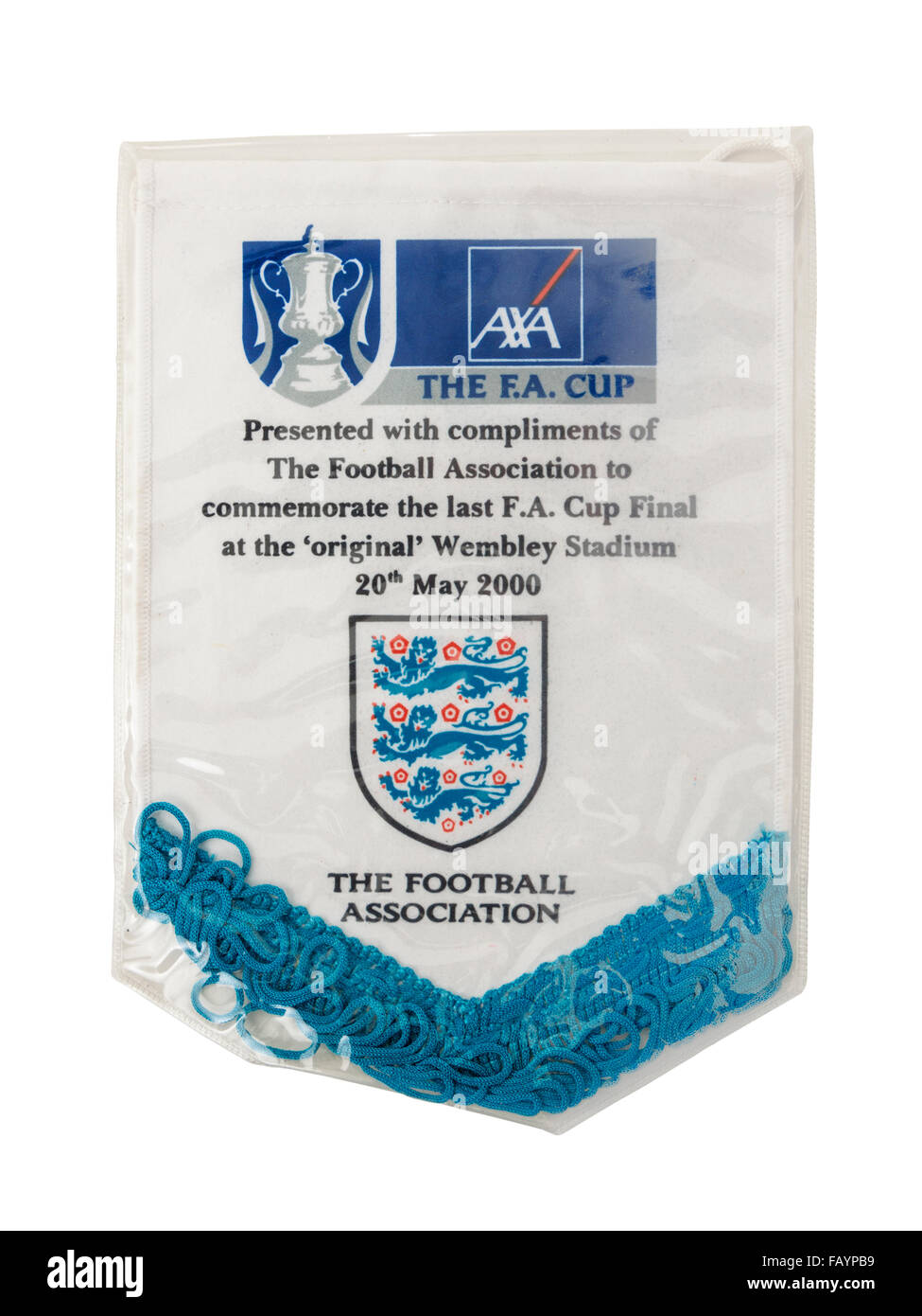Memento from the last ever F.A. Cup Final played at the original Wembley Stadium on 20th May 2000 - Stock Image