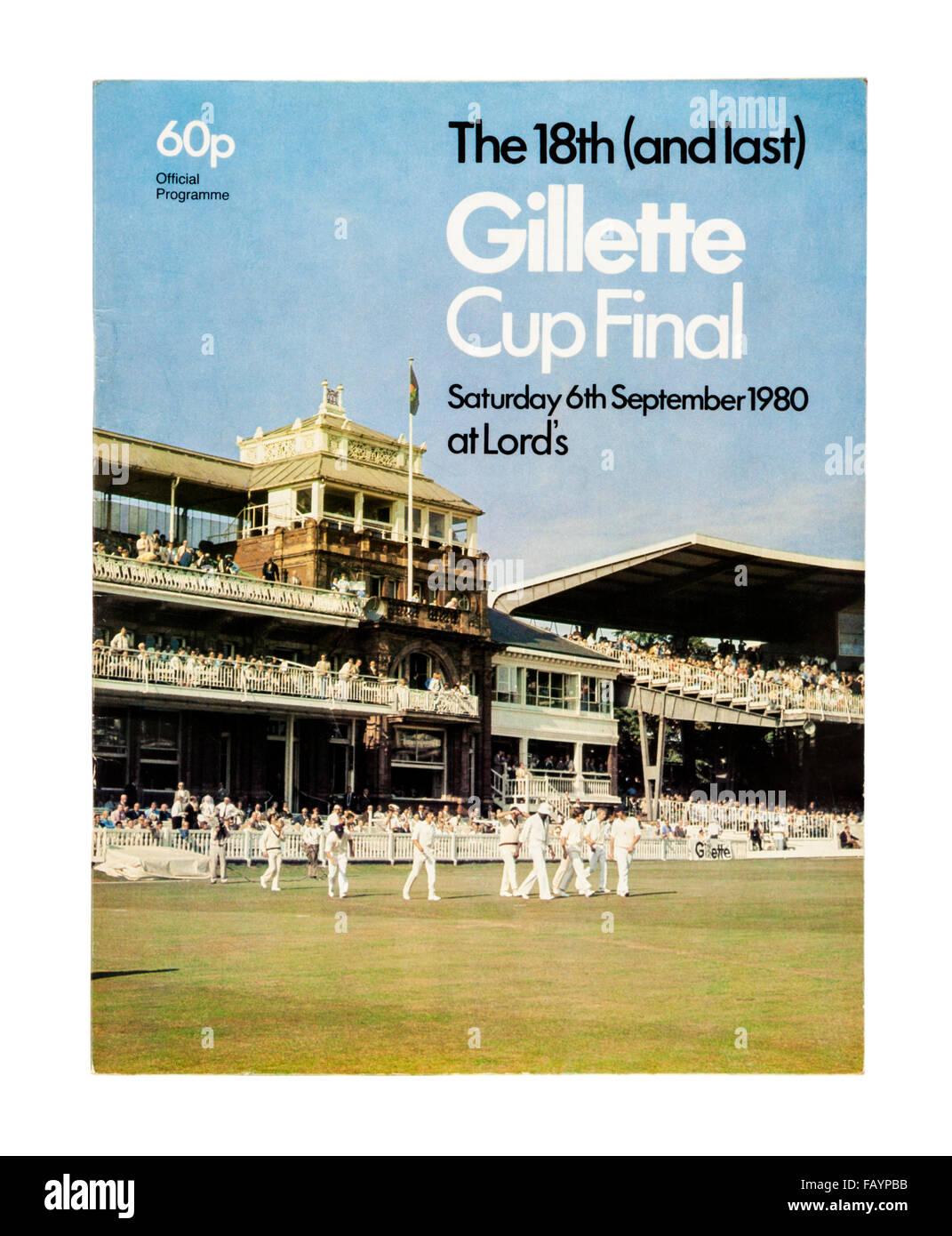 Official Souvenir Programme of the 18th (and last) Gillette Cup Final at Lord's on 6th September 1980. - Stock Image