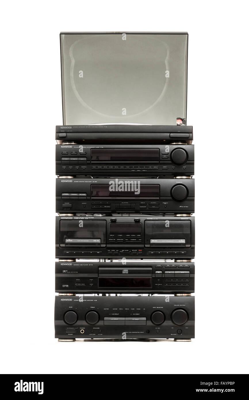 Vintage (1992) Kenwood Hi-Fi system Stock Photo