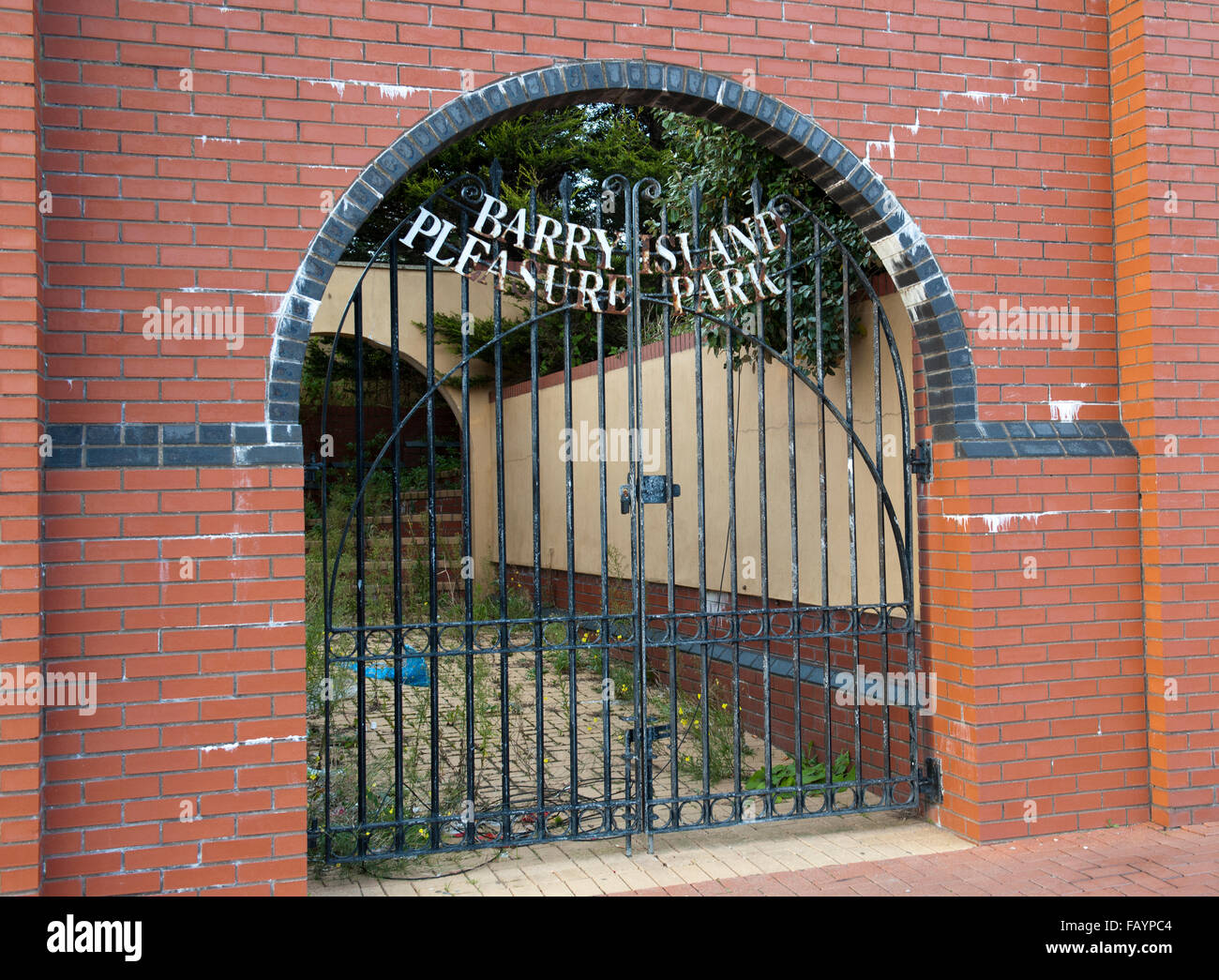 Metal Gates at the entrance to Barry Island Pleasure Park, Barry Island, Vale of Glamorgan, South Wales, UK Stock Photo