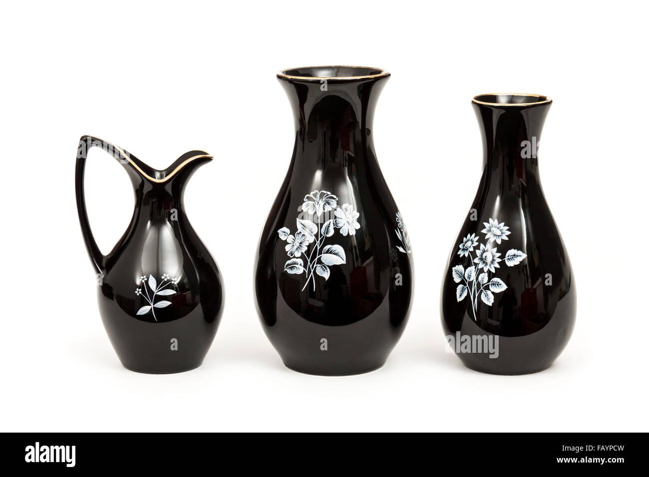 Vintage set of 1960's Wade pottery 'Black Frost' floral vases - Stock Image
